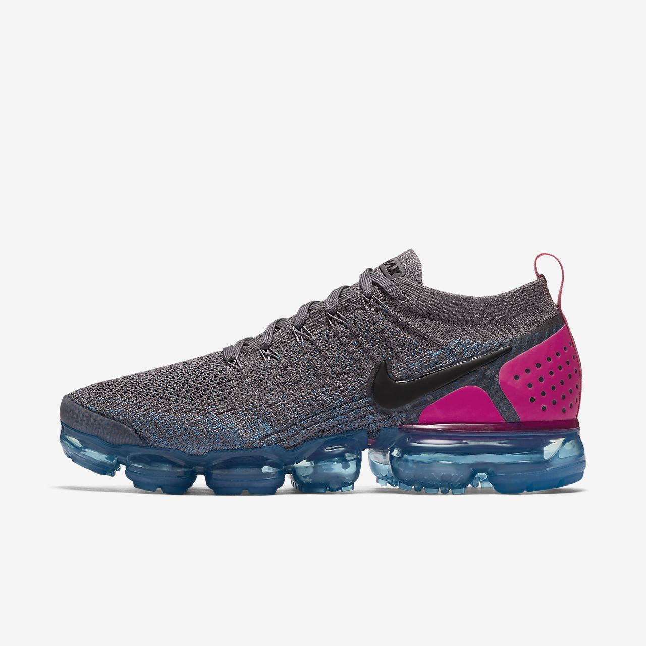 Mens Nike Air VaporMax Flyknit 2 Gunsmoke/Black/Blue Orbit/Pink Blast 942842 004