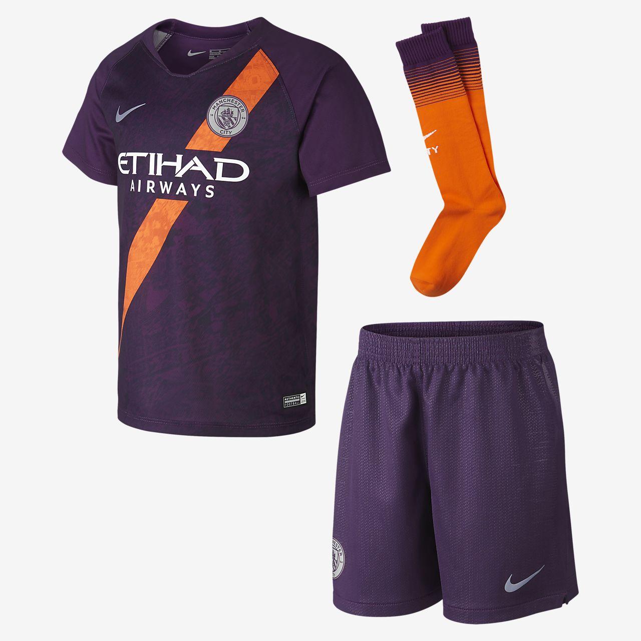 Kit de fútbol para niños talla pequeña de visitante Stadium del Manchester City FC 2018
