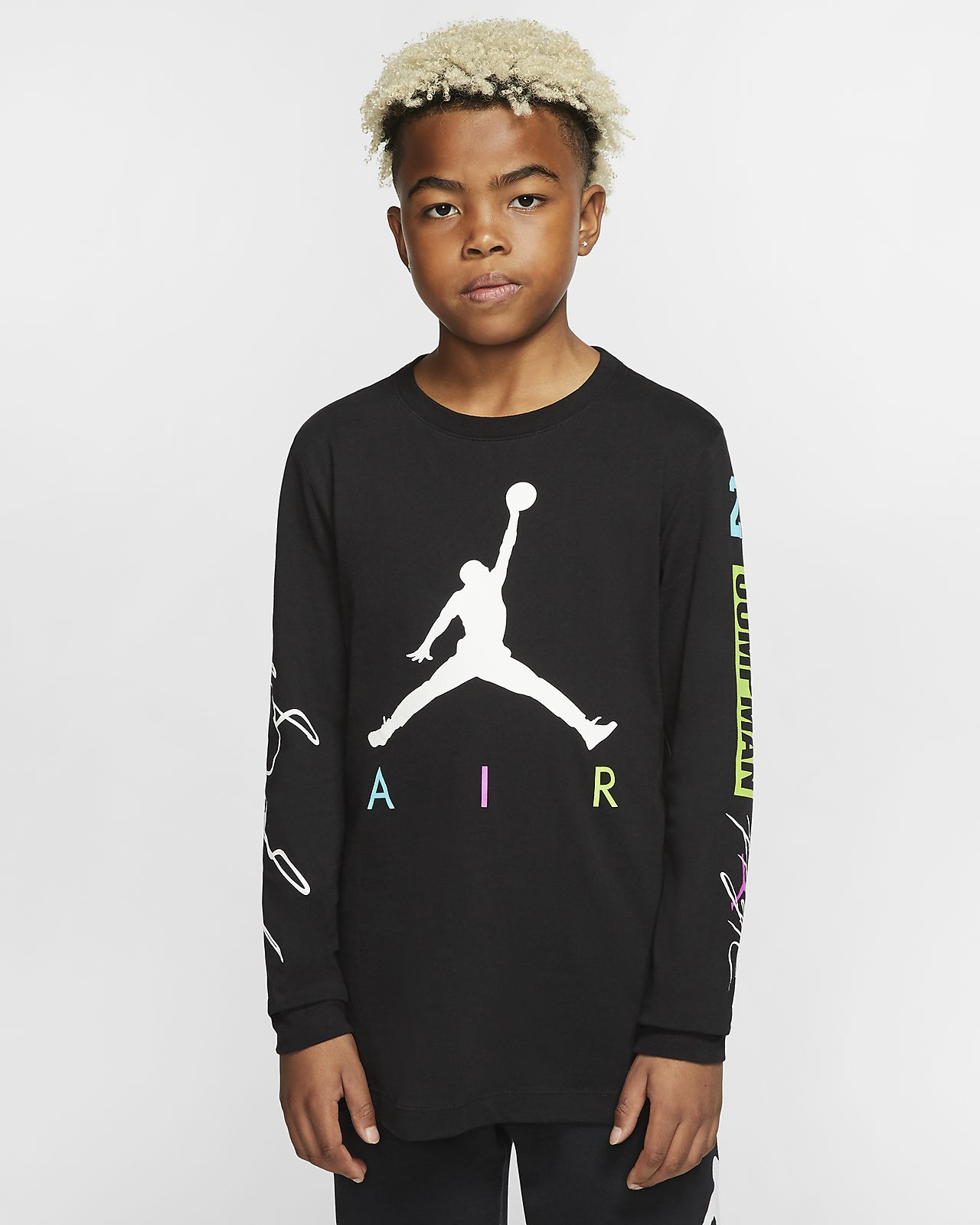T-shirt z długim rękawem dla dużych dzieci (chłopców) Jordan Jumpman