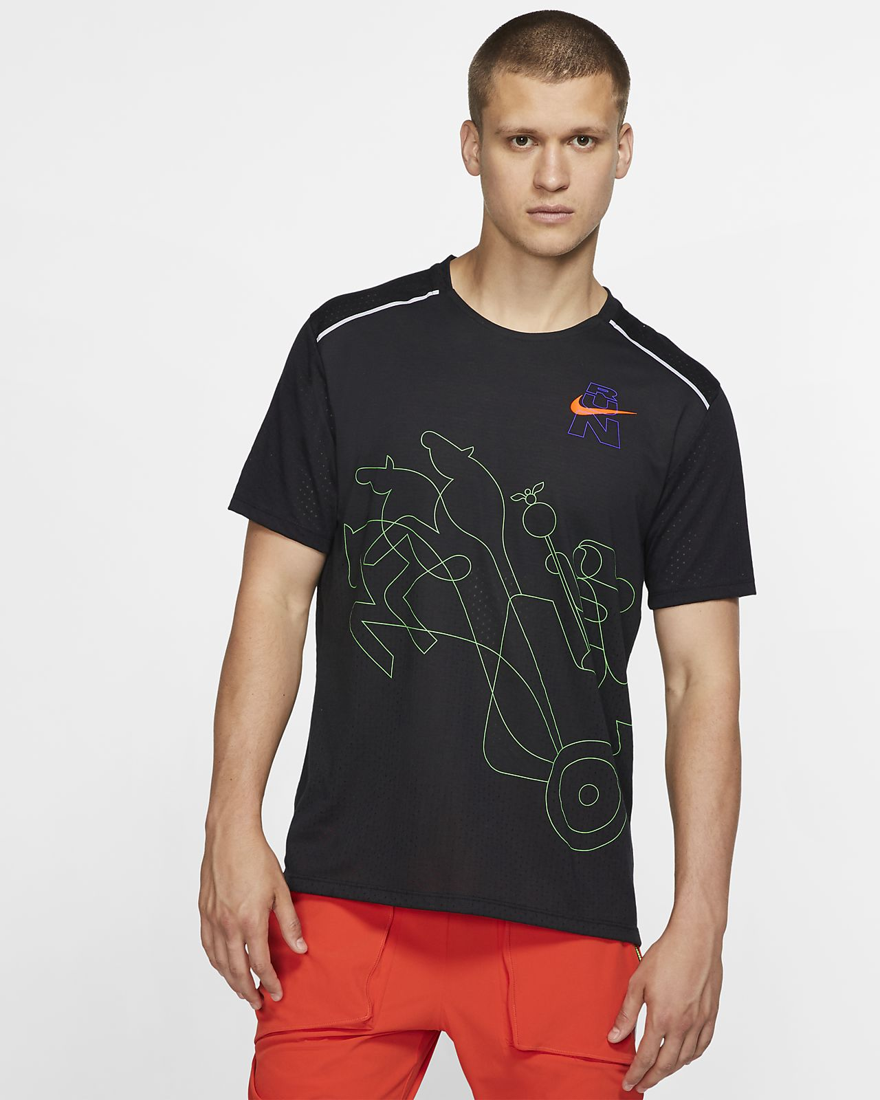 Prenda para la parte superior de running de manga corta para hombre Nike Rise 365 (London)