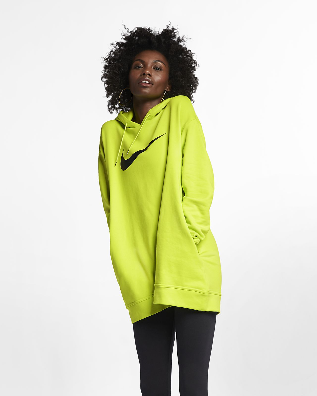 nike swoosh hoodie women's black