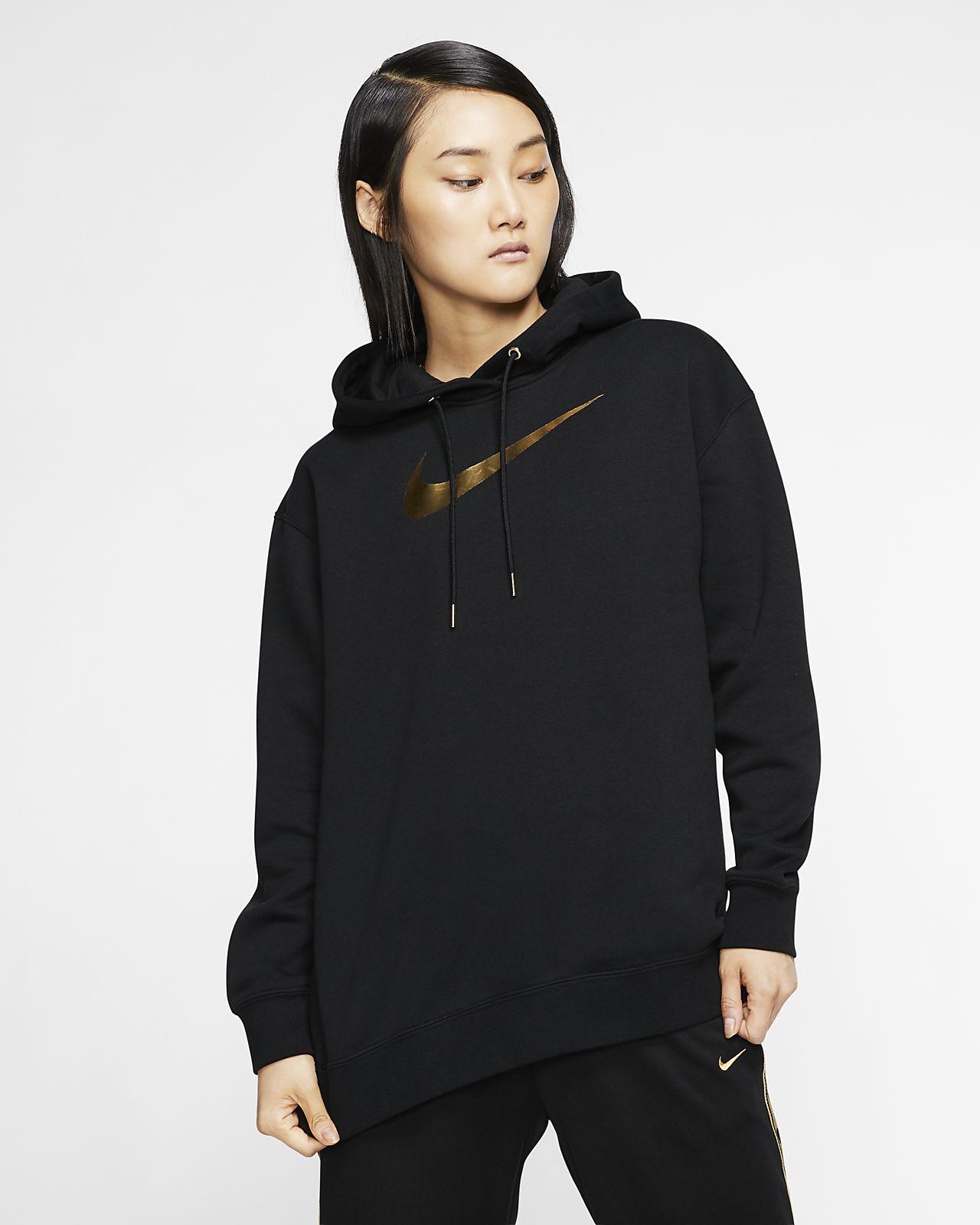 Black Tops Women's Nike Sportswear Funnel Neck Zip Up Hoodie