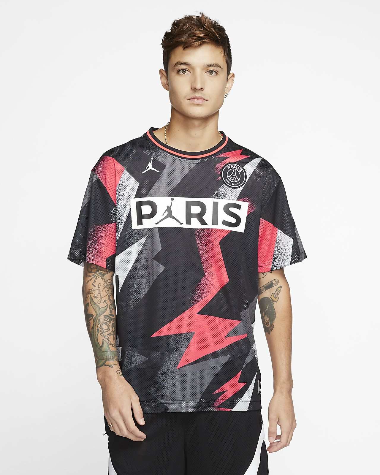 Kortärmad tröja i mesh PSG för män