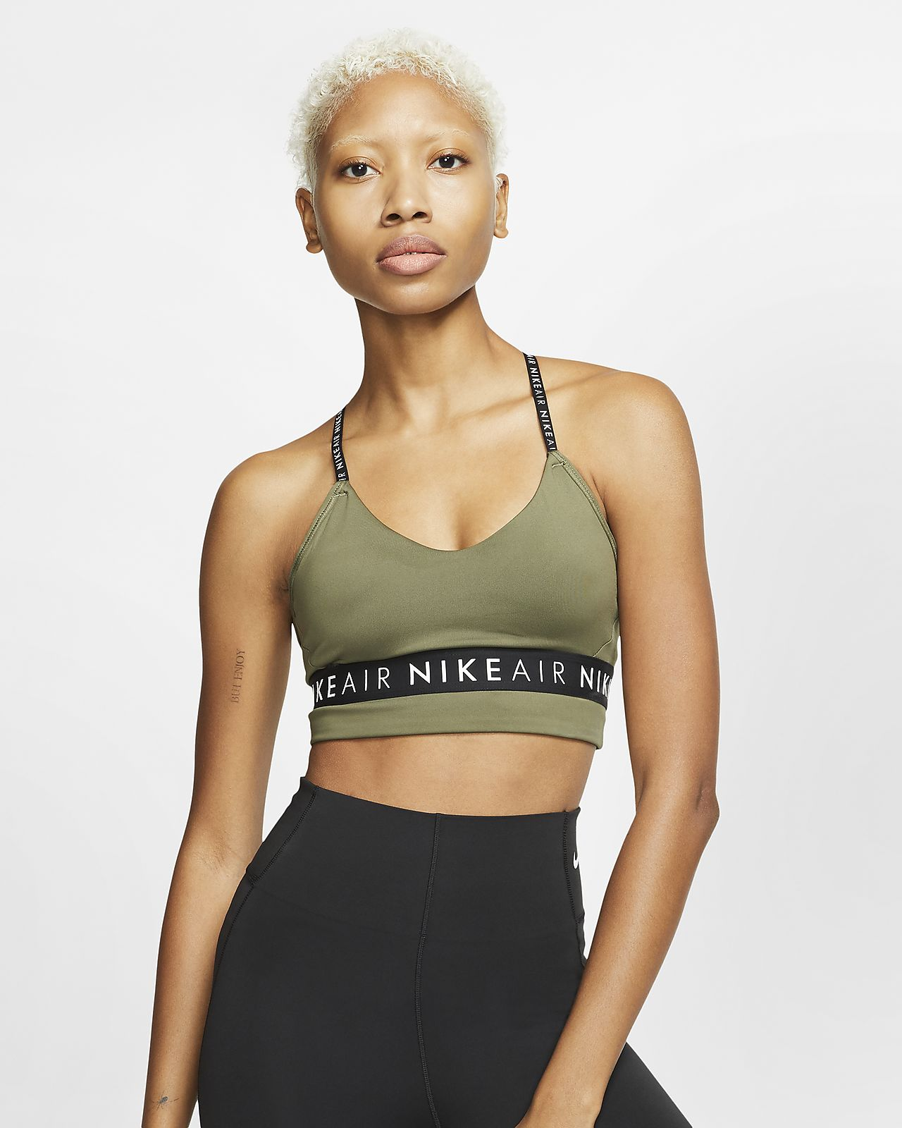NIKE Damen Sport BH Indy Low Support olive | S