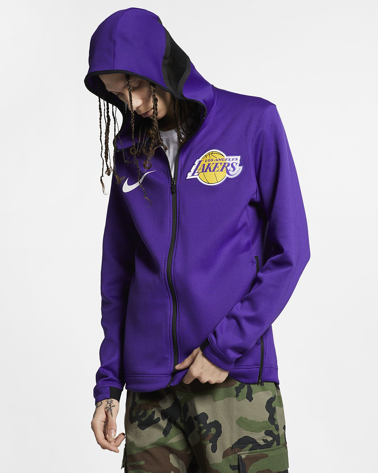 Los Angeles Lakers Nike Therma Flex Showtime NBA-s kapucnis férfipulóver