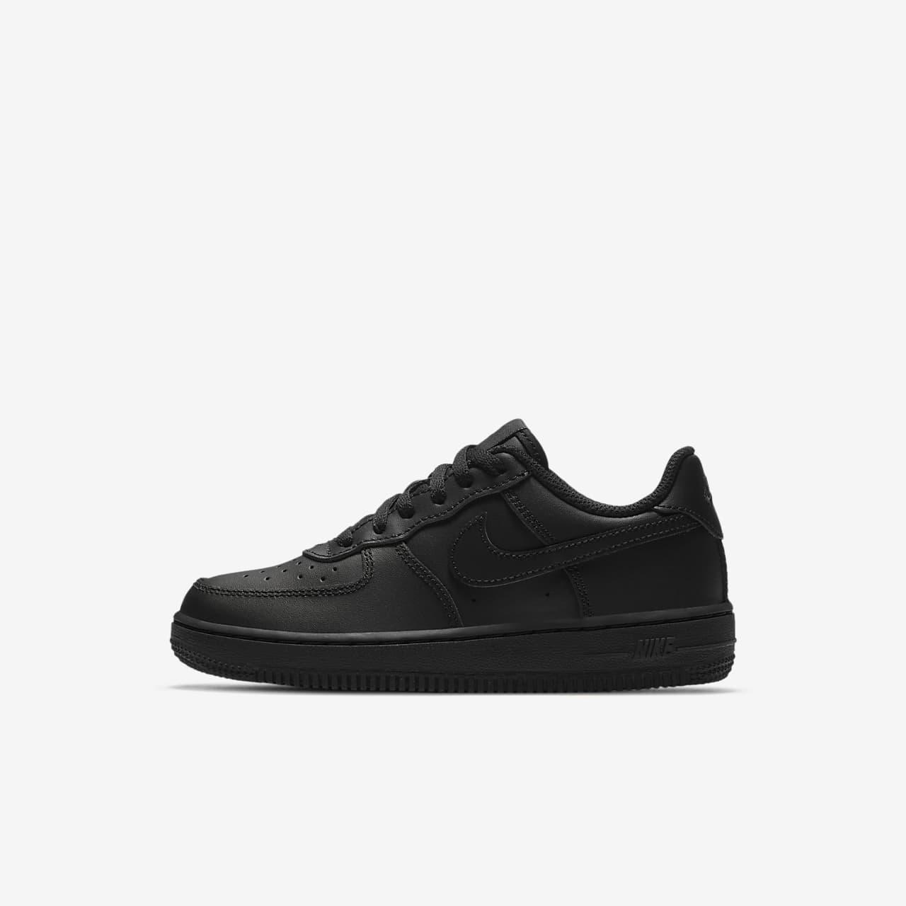 Nike Force 1 Triple Black sko til små barn