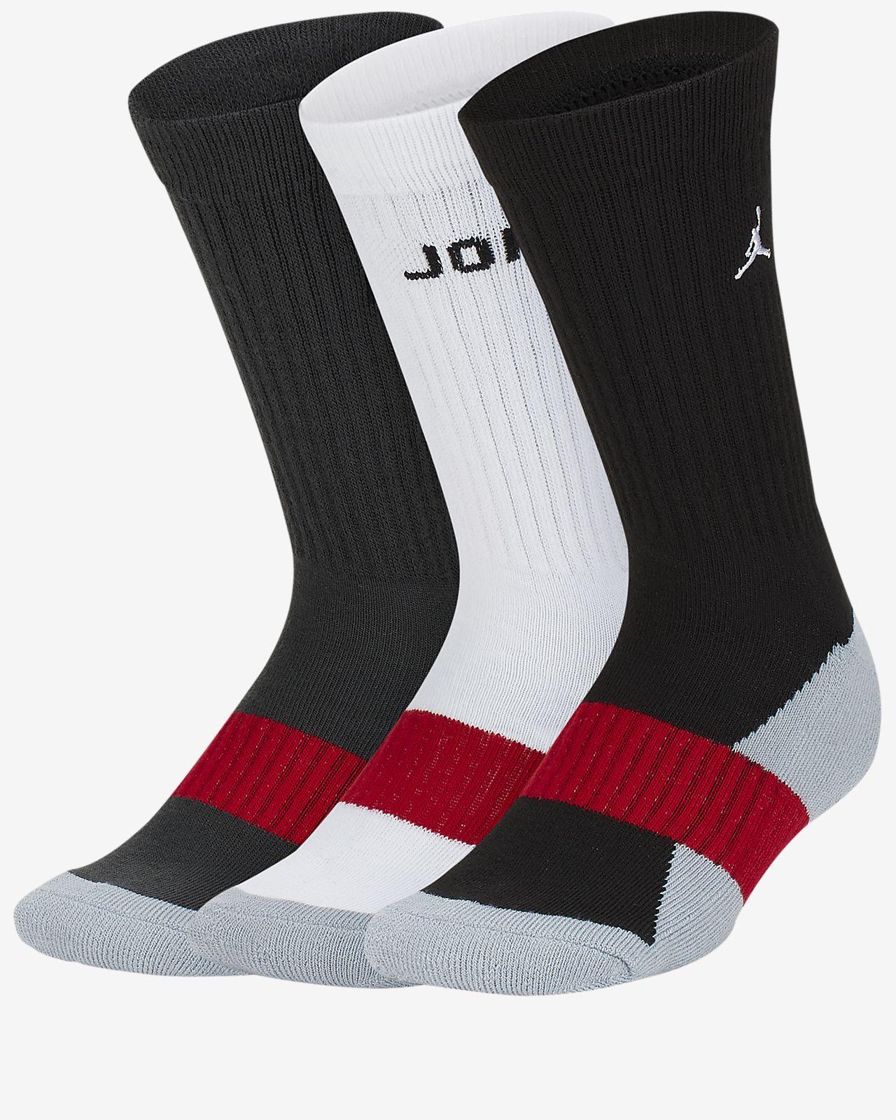 Středně vysoké polstrované ponožky Jordan pro větší děti (chlapce) (3 páry)