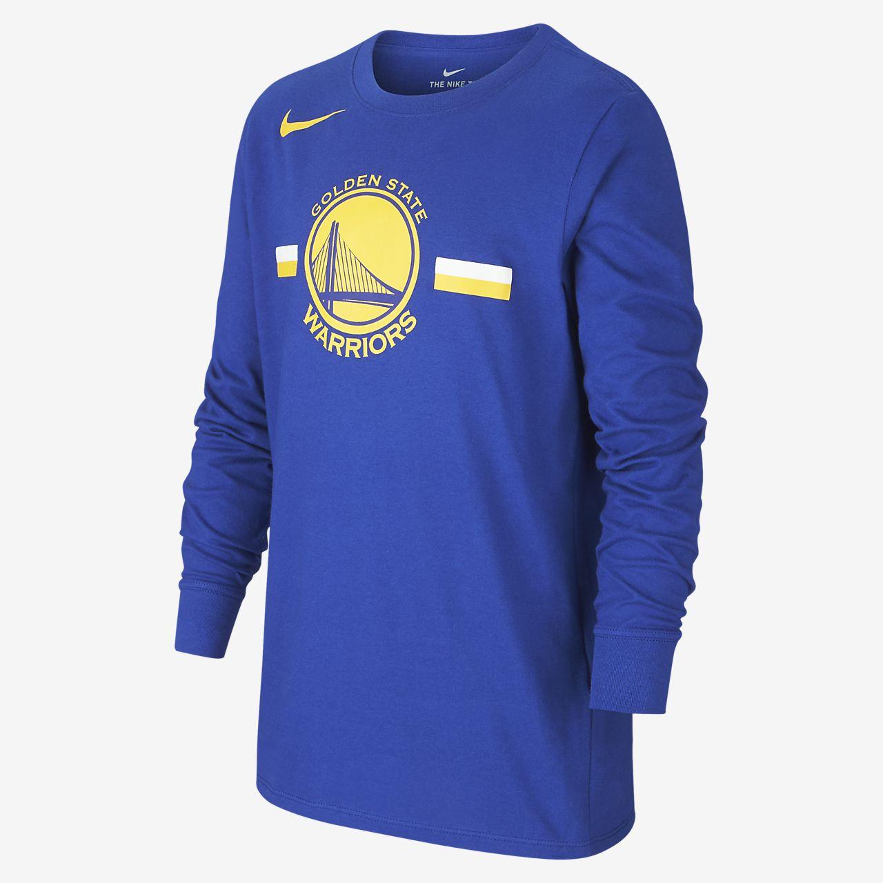 Golden State Warriors Nike Dri-FIT Logo NBA-kindershirt met lange mouwen