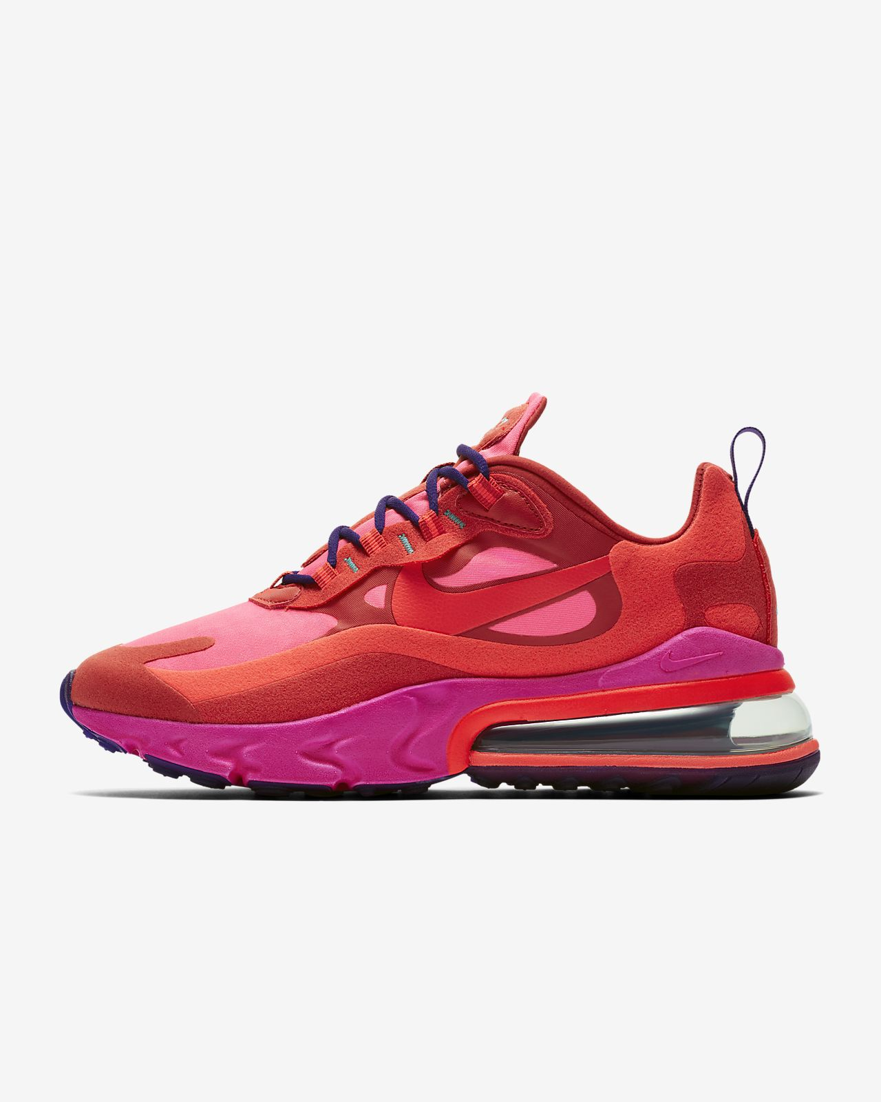 Nike Air Max 270 React Shoes Mystic RedPink BlastHabanero Red