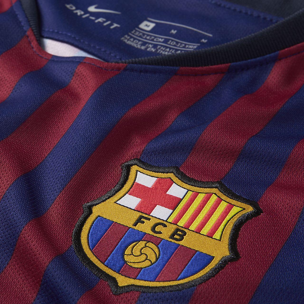 ecf369c9 2018/19 FC Barcelona Stadium Home Big Kids' Soccer Jersey. Nike.com