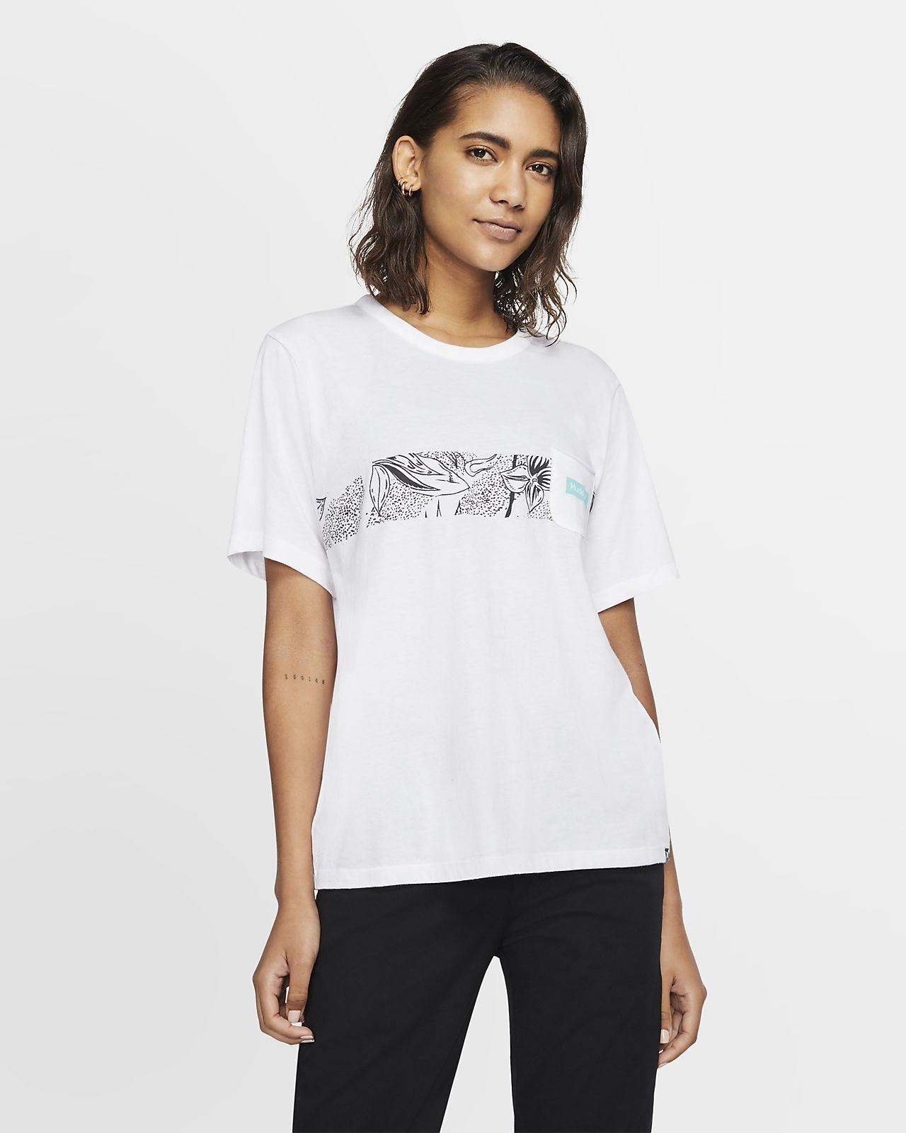 Kortærmet Hurley Domino Stripe Pocket-trøje med rund hals til kvinder