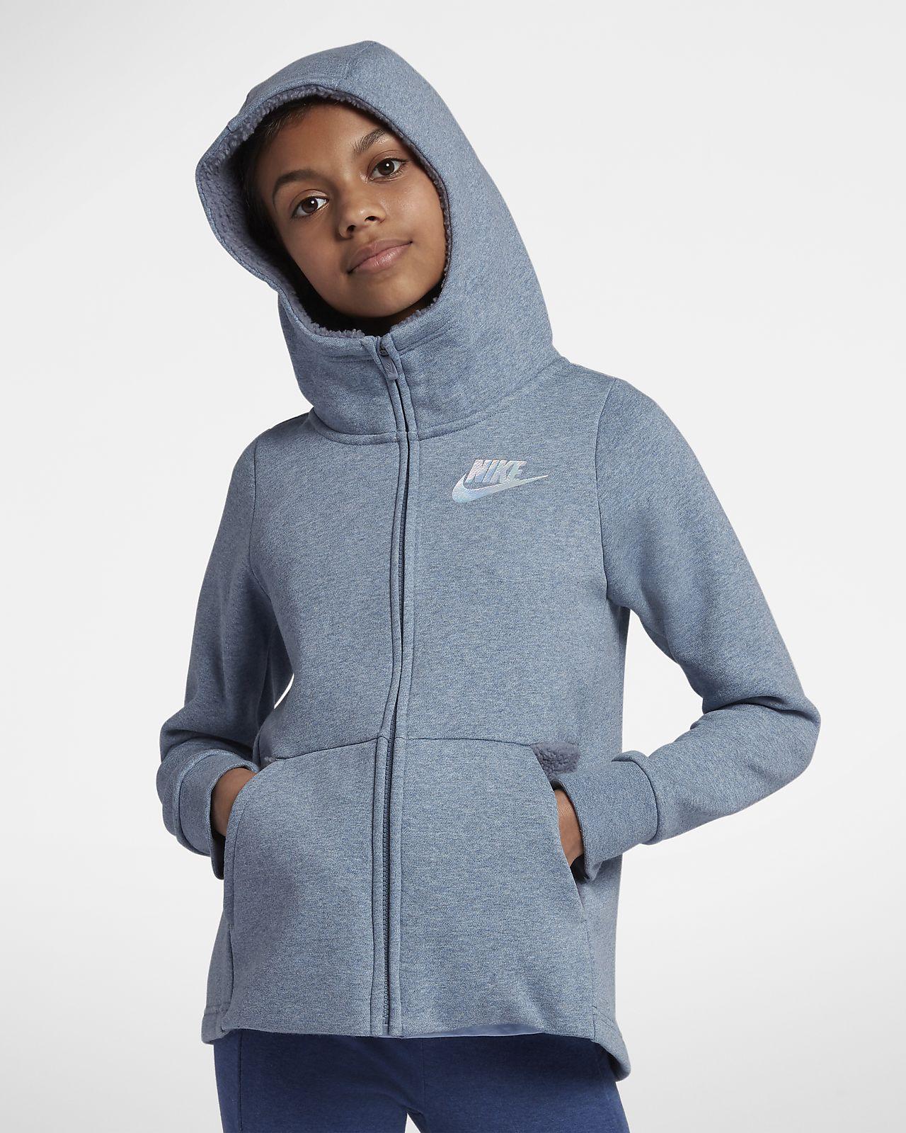 Huvtröja med hel dragkedja Nike Sportswear för tjejer