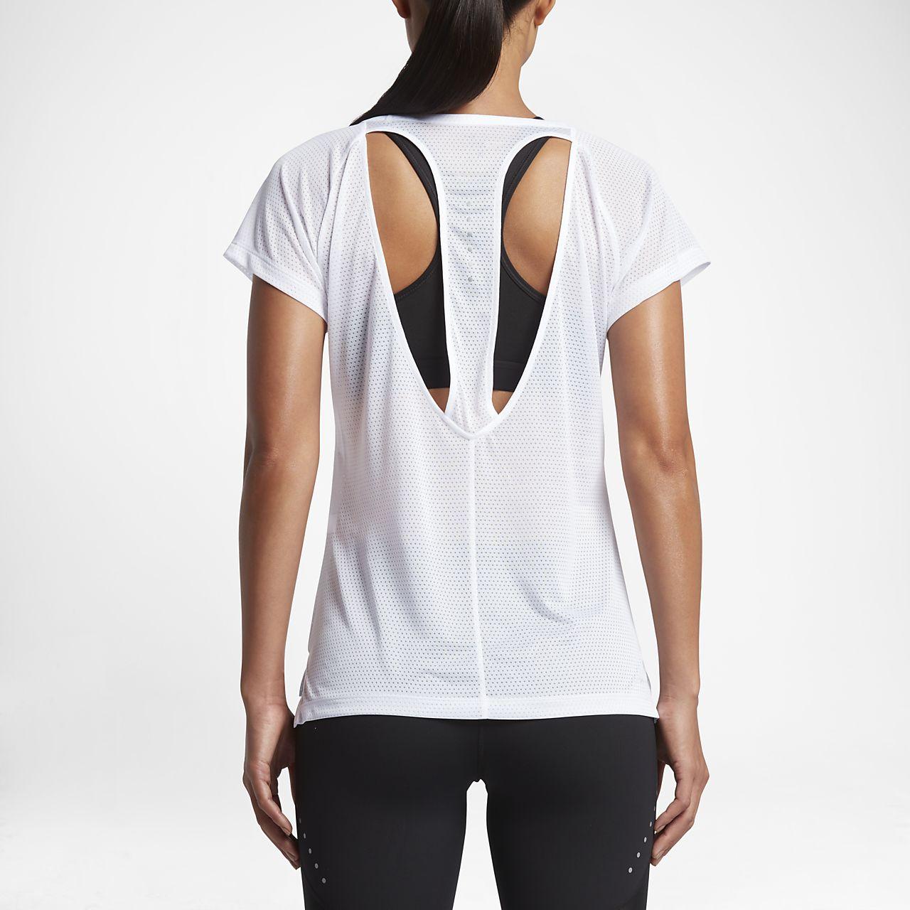 Nike Breathe Women's Short Sleeve Running Tops White/Heather