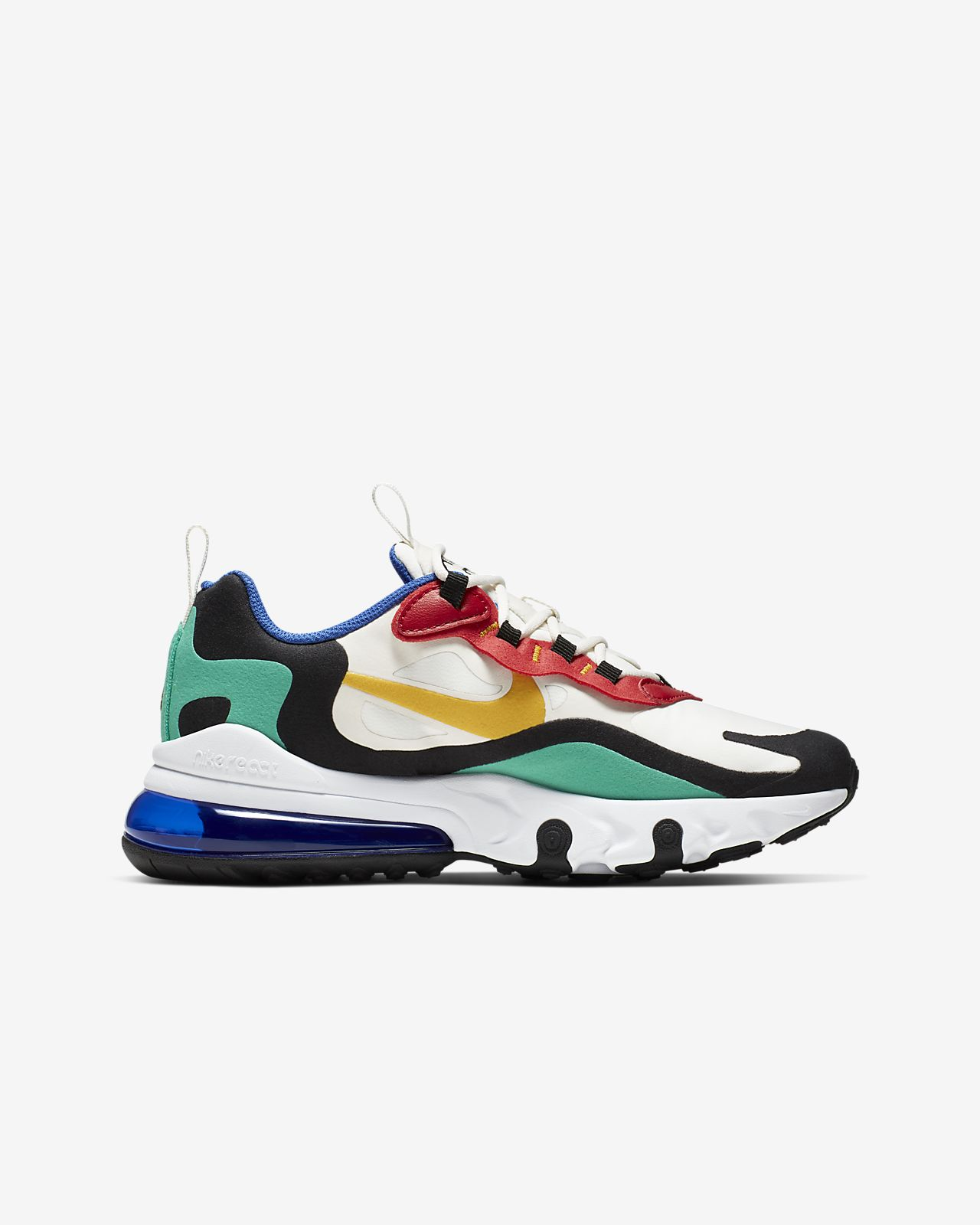 Nike Air Max 270 React White Black Blue Red Kids' Running Shoes