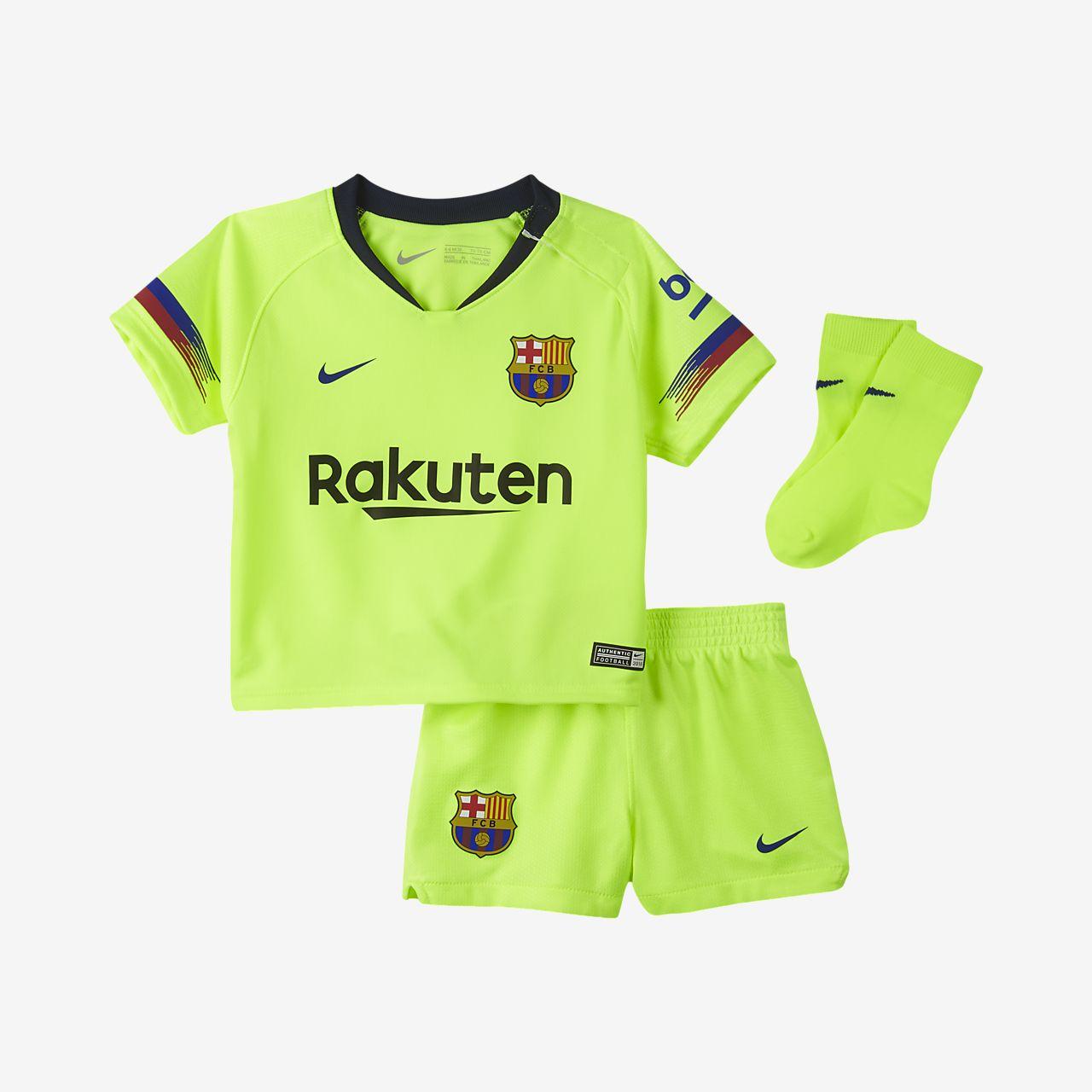 Kit de fútbol para bebé e infantil de visitante Stadium del FC Barcelona 2018/19