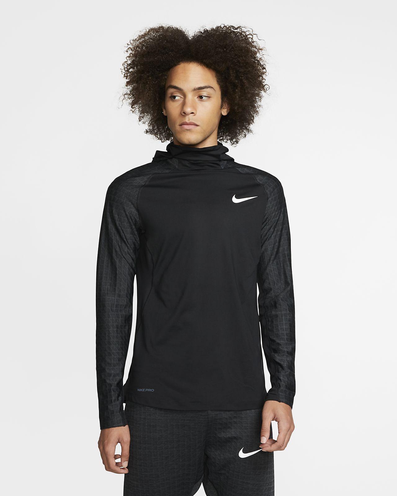 Nike Pro Therma Uzun Kollu Erkek Kapüşonlu Antrenman Üstü