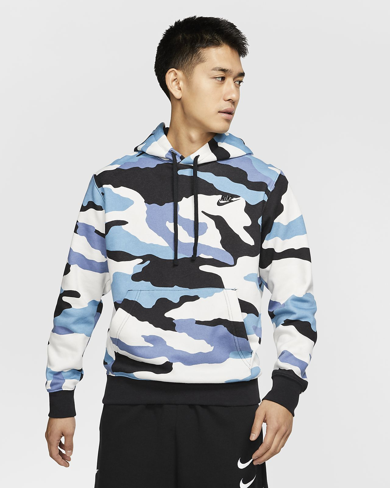 Nike Sportswear Club Camo Fleece Hoodie Size L Boutique