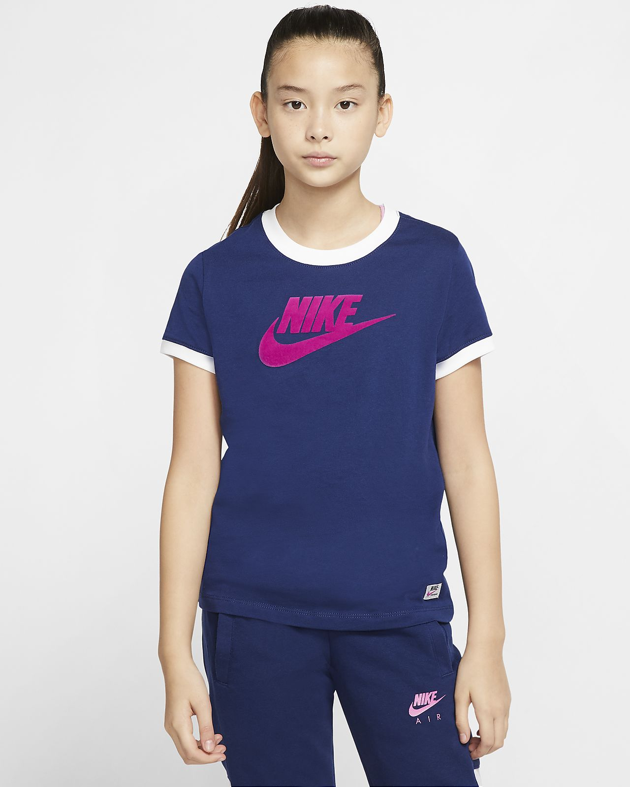 Nike Pro T Shirt Kids blue void white
