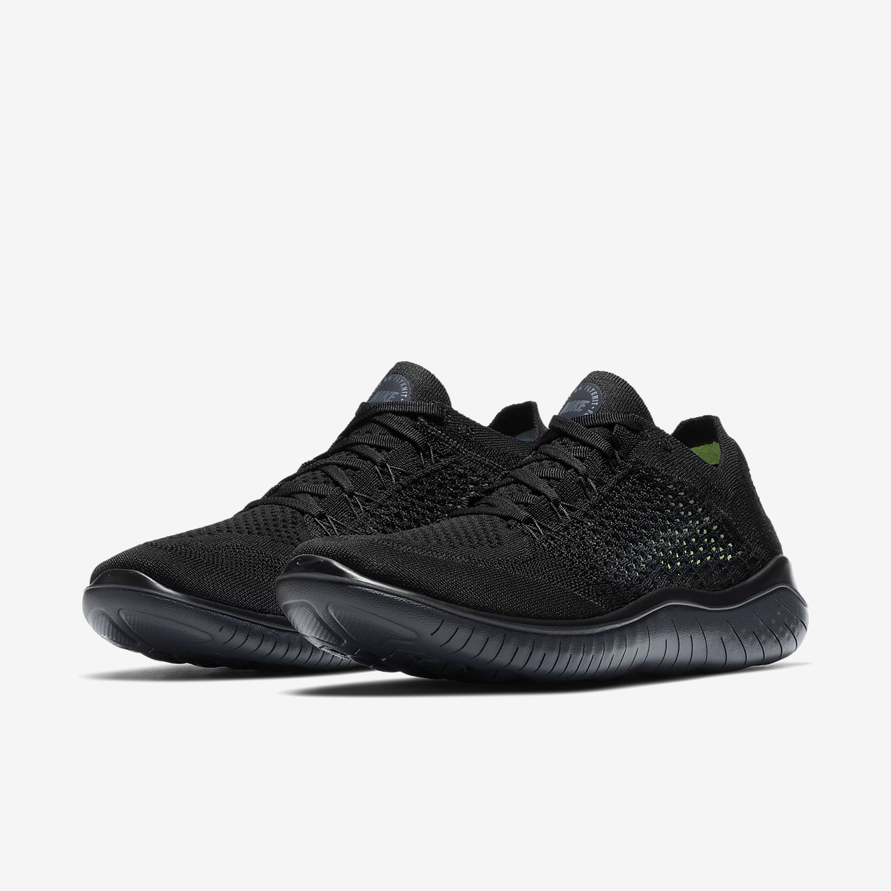 NEW MENS NIKE FREE RN (RUN) FLYKNIT 2018 RUNNING SHOES TRAINERS BLACK / ANTHRACI