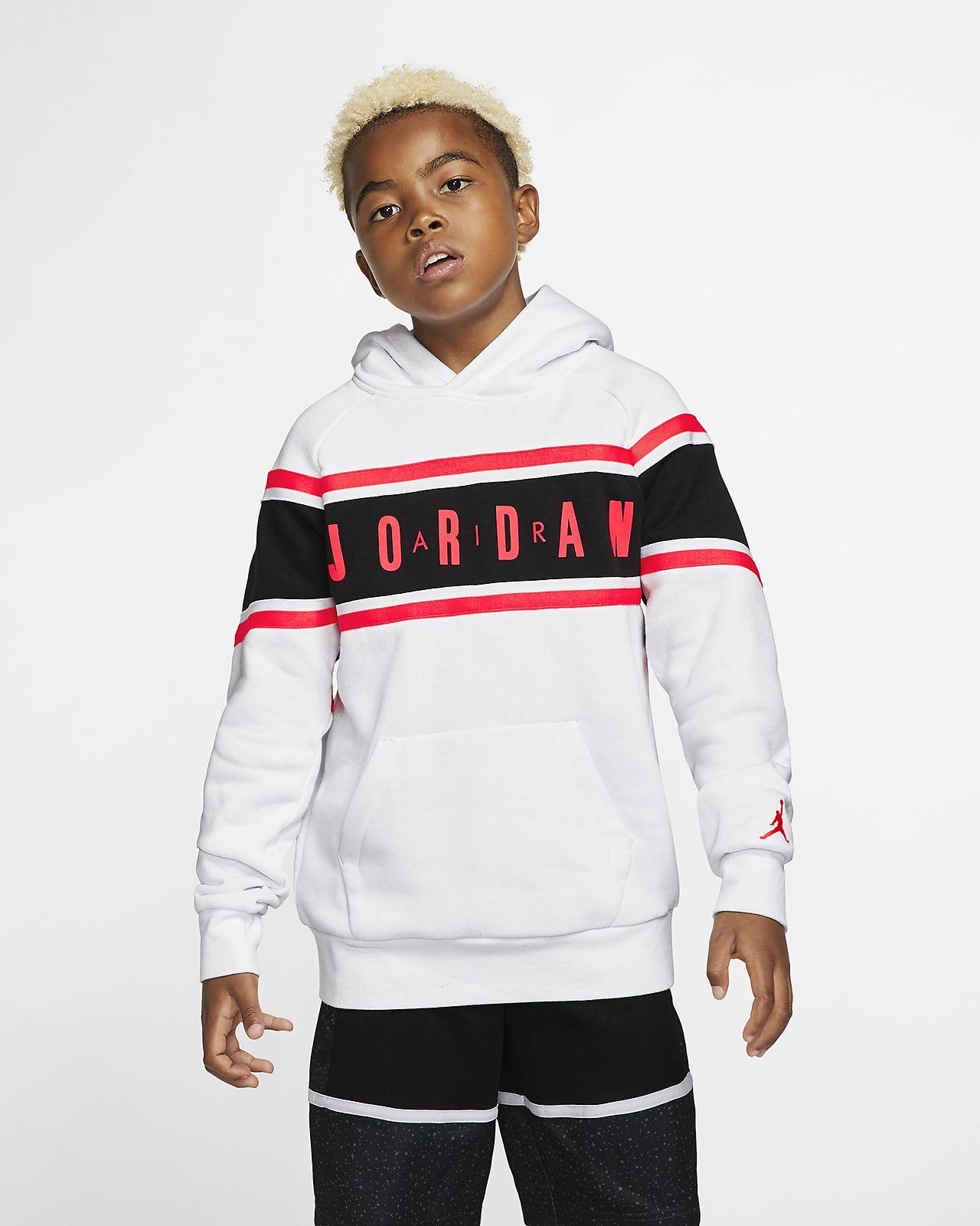 Mikina s kapucí a páskami v kontrastních barvách Air Jordan pro větší děti (chlapce)