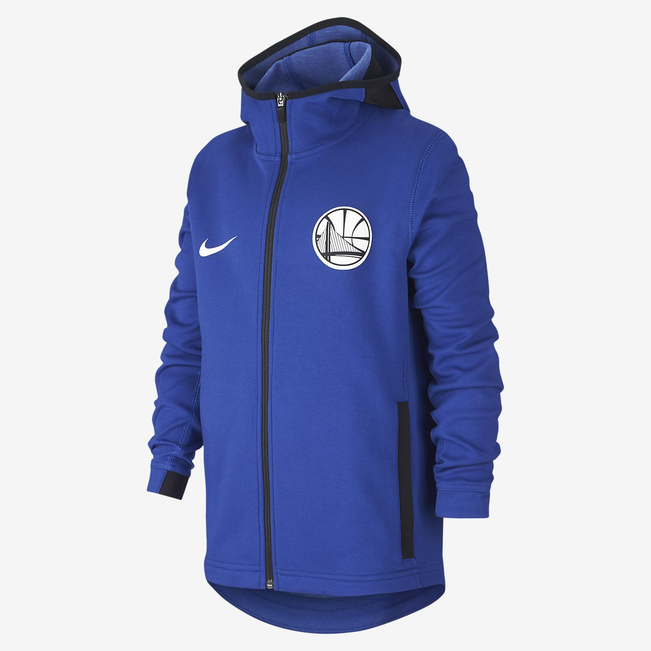 Felpa Golden State Warriors con cappuccio e zip a tutta lunghezza Nike Dri-FIT Showtime NBA - Ragazzo