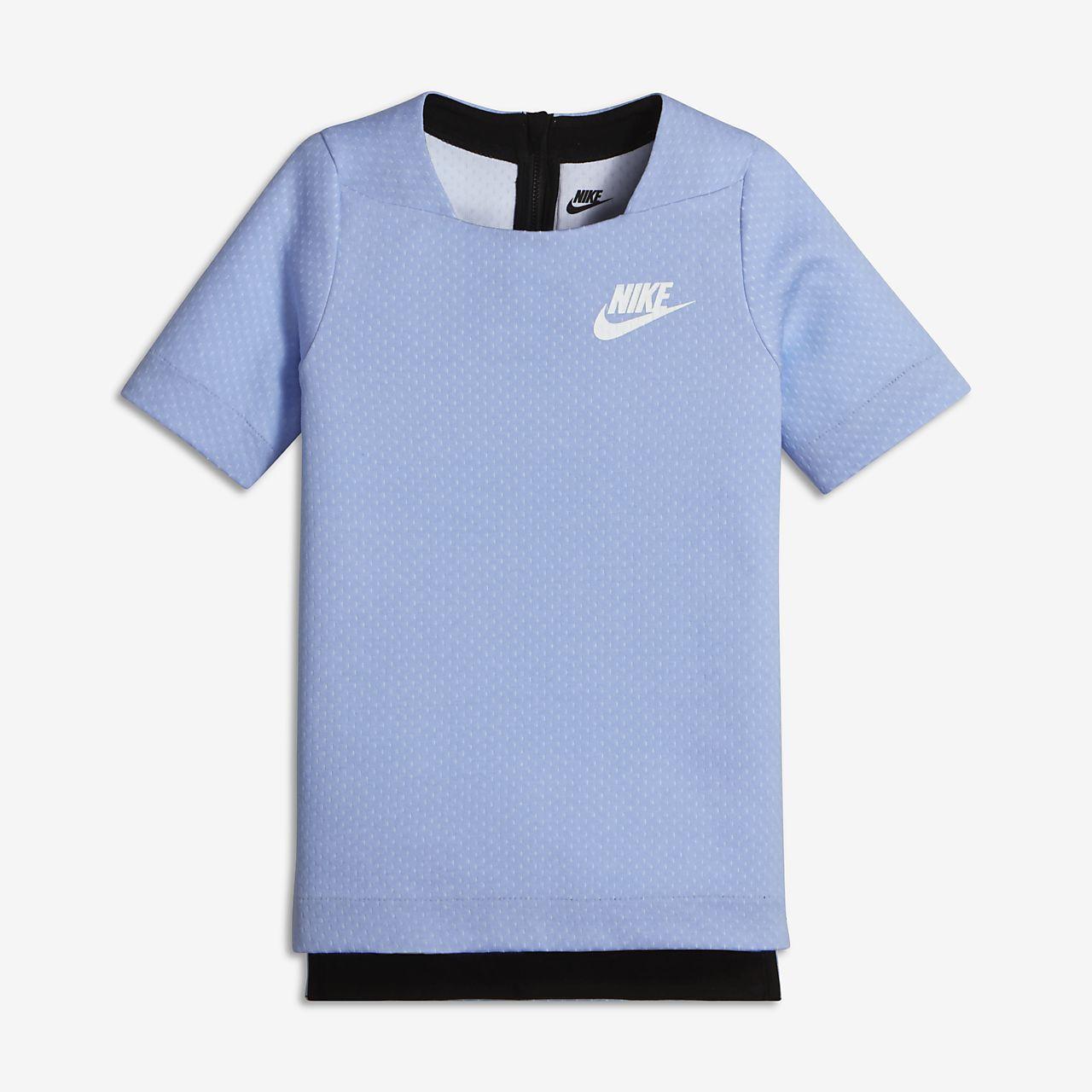 Nike Sportswear Tech Fleece Big Kids' Short Sleeve Tops Aluminum/White