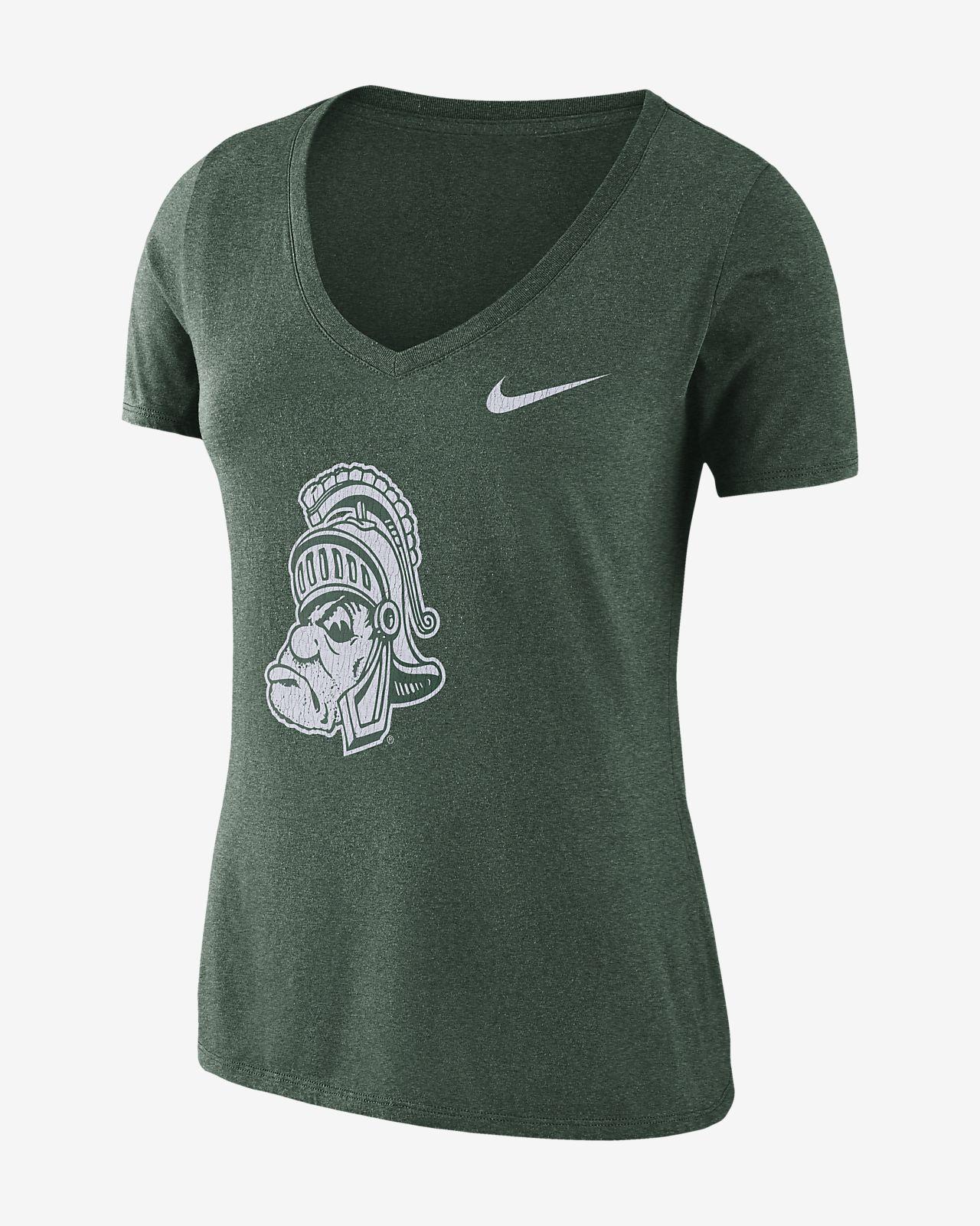Nike College Tri-Blend Mid-V Vault Logo (Michigan State) Women's T-Shirt