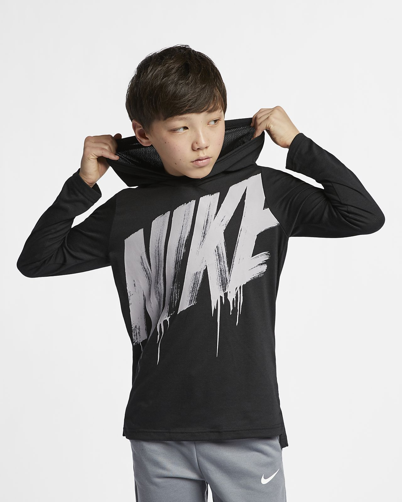 Nike Breathe Big Kids' Long-Sleeve Hooded Training Top