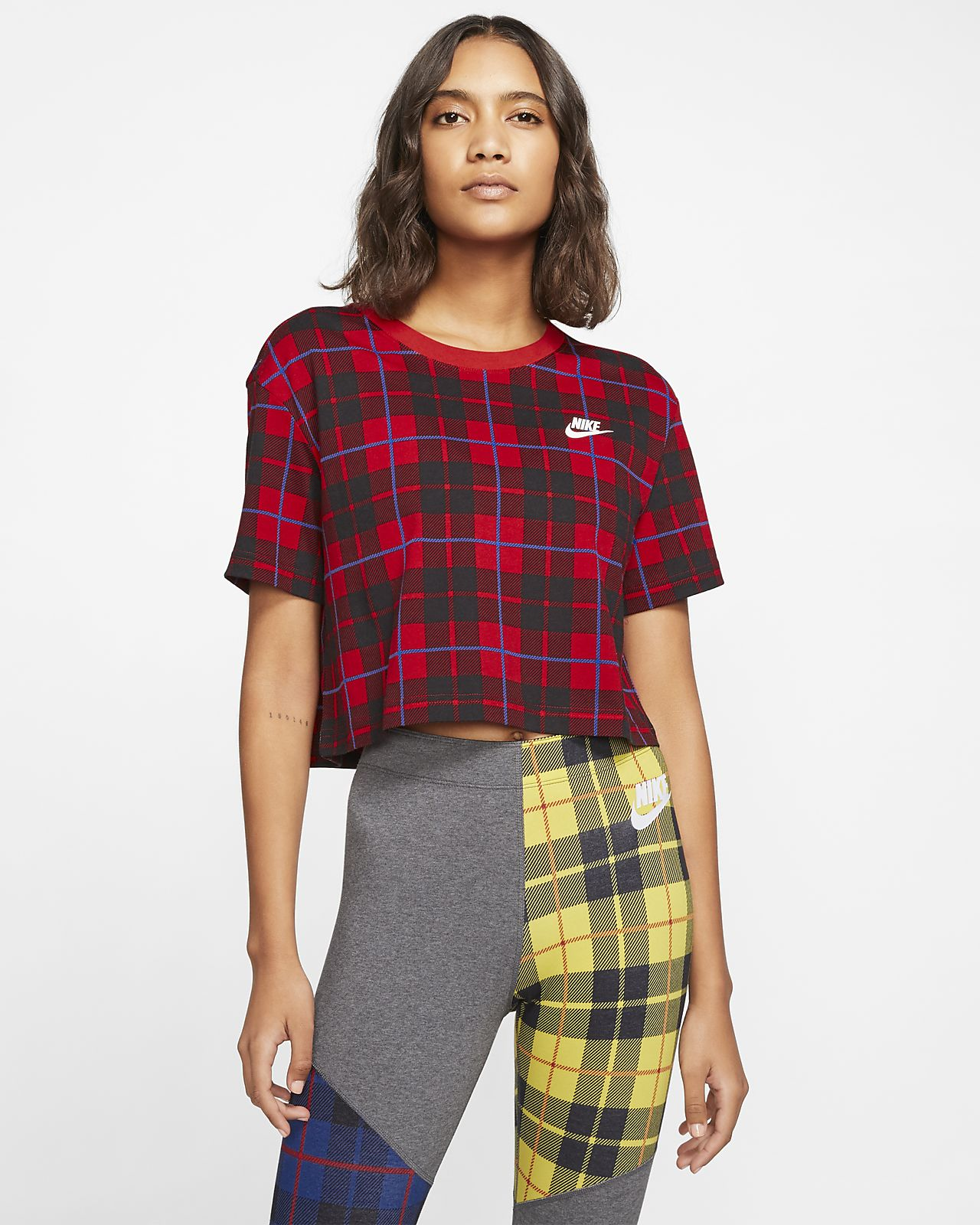 Dámské zkrácené kostkované tričko Nike Sportswear NSW