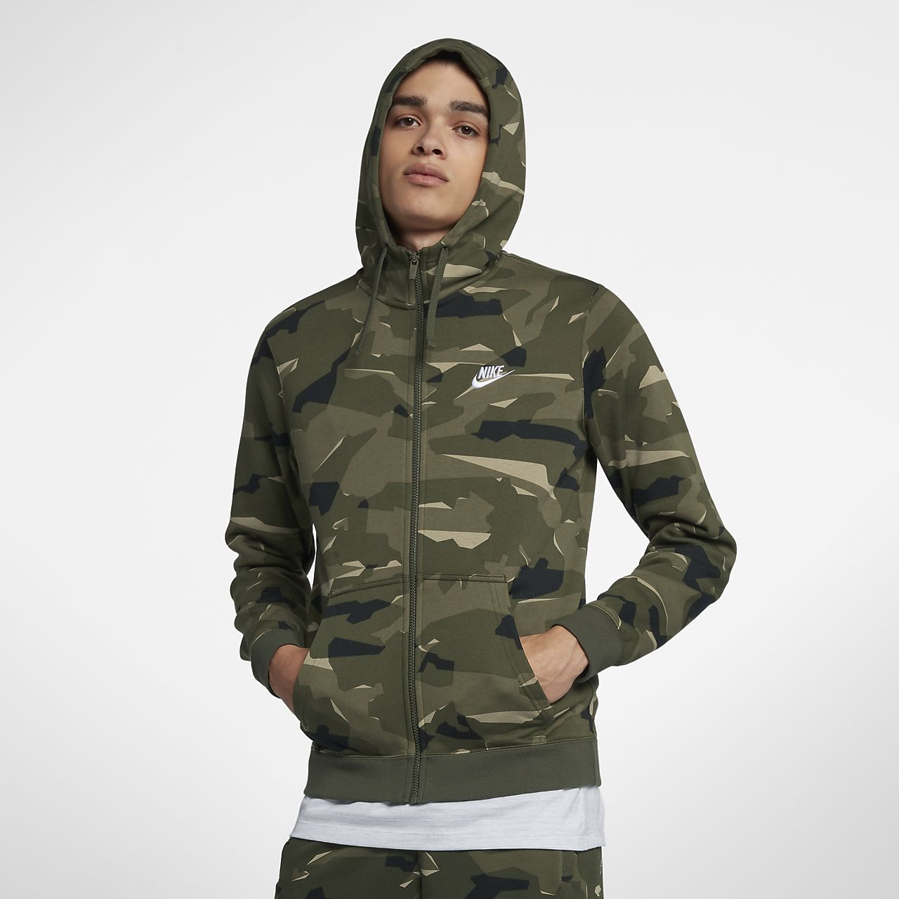 ... Sweat à capuche entièrement zippé camouflage Nike Sportswear Club  Fleece pour Homme