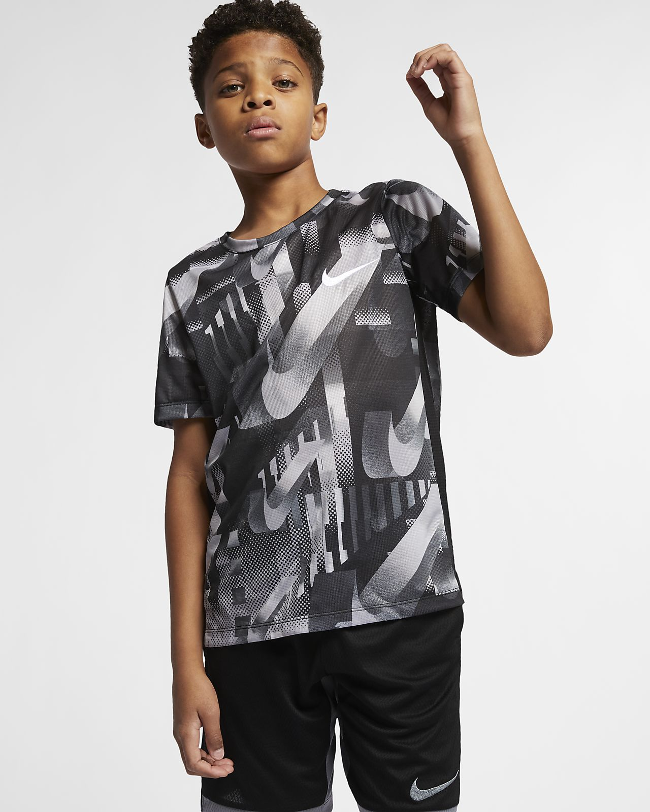 Nike Dri-FIT Older Kids' (Boys') Short-Sleeve Printed Training Top