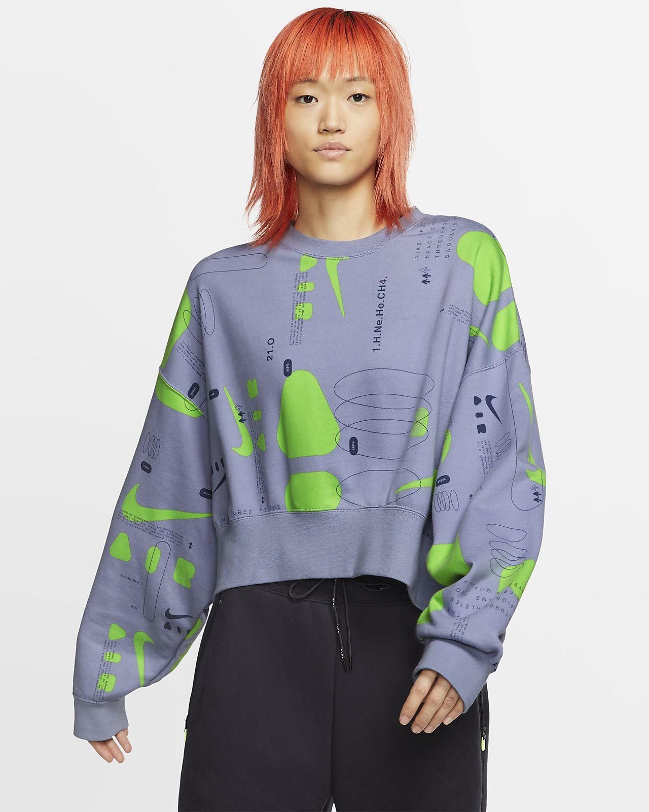 Nike Air-fleececrewtrøje med print til kvinder