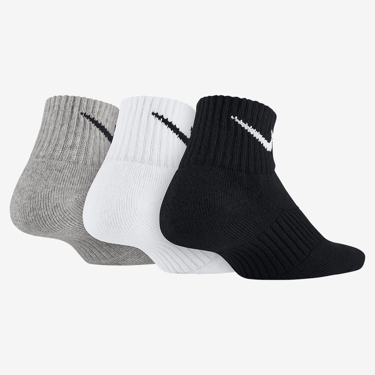 4383e73e3703 Nike Cotton Cushion Quarter Socks (3 Pair). Nike.com GB