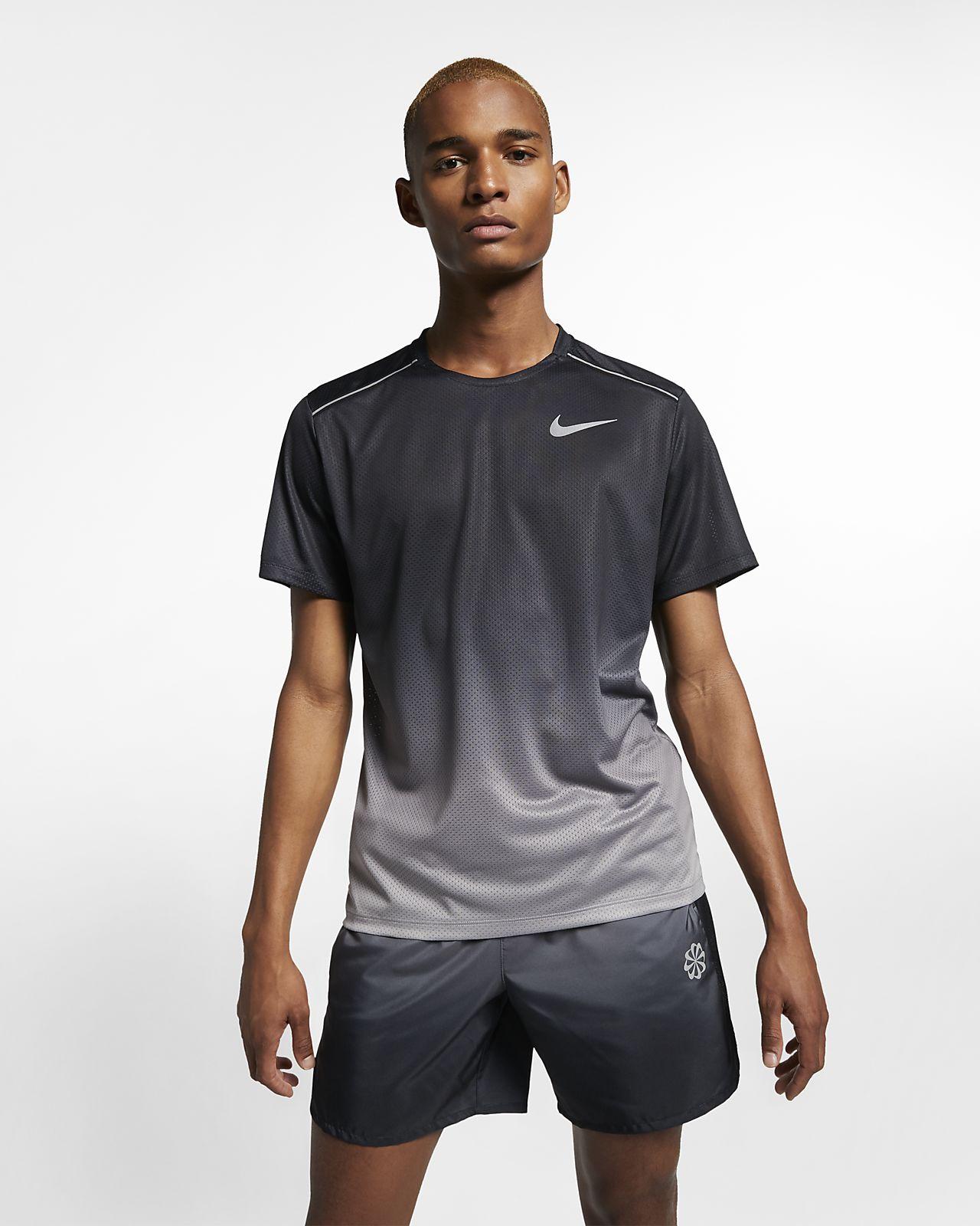 Ανδρική εμπριμέ κοντομάνικη μπλούζα για τρέξιμο Nike Dri-FIT Miler
