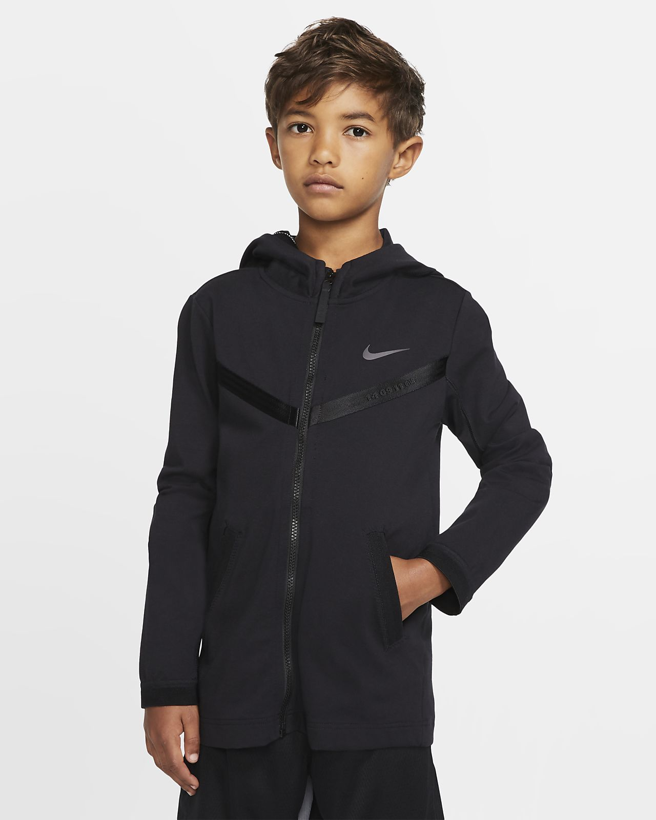 Μπλούζα με κουκούλα και φερμουάρ σε όλο το μήκος Nike Sportswear Tech Pack για μεγάλα παιδιά