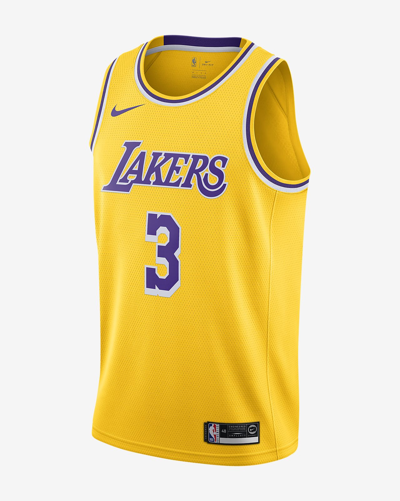 Maillot Nike NBA Swingman Anthony Davis Lakers Icon Edition pour Homme