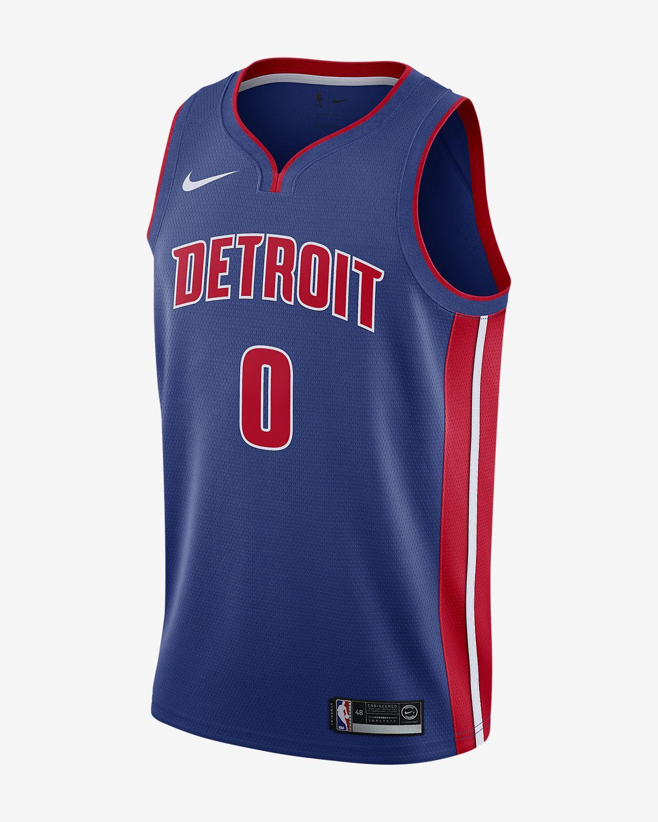 Camiseta conectada Nike NBA para hombre Andre Drummond Icon Edition Swingman (Detroit Pistons)