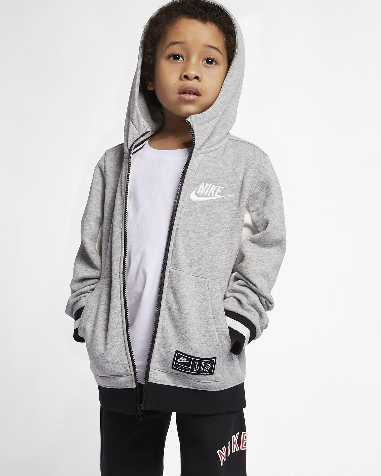 Nike Air-fleecehættetrøje med lynlås i fuld længde til små børn