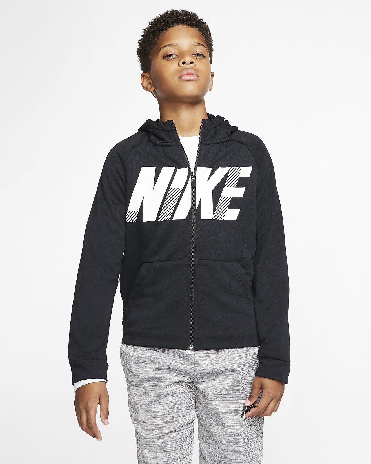 Hoodie de treino com grafismo e fecho completo Nike Dri-FIT Júnior