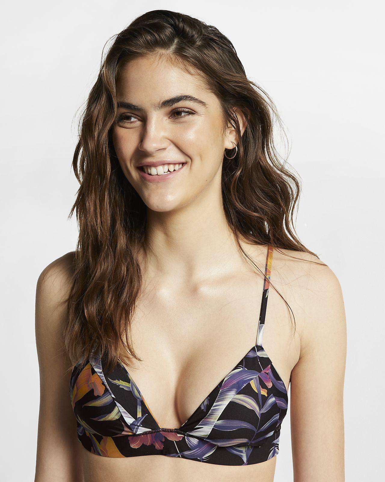 Hurley Quick Dry-bralette-surferoverdel med blonsterprint til kvinder