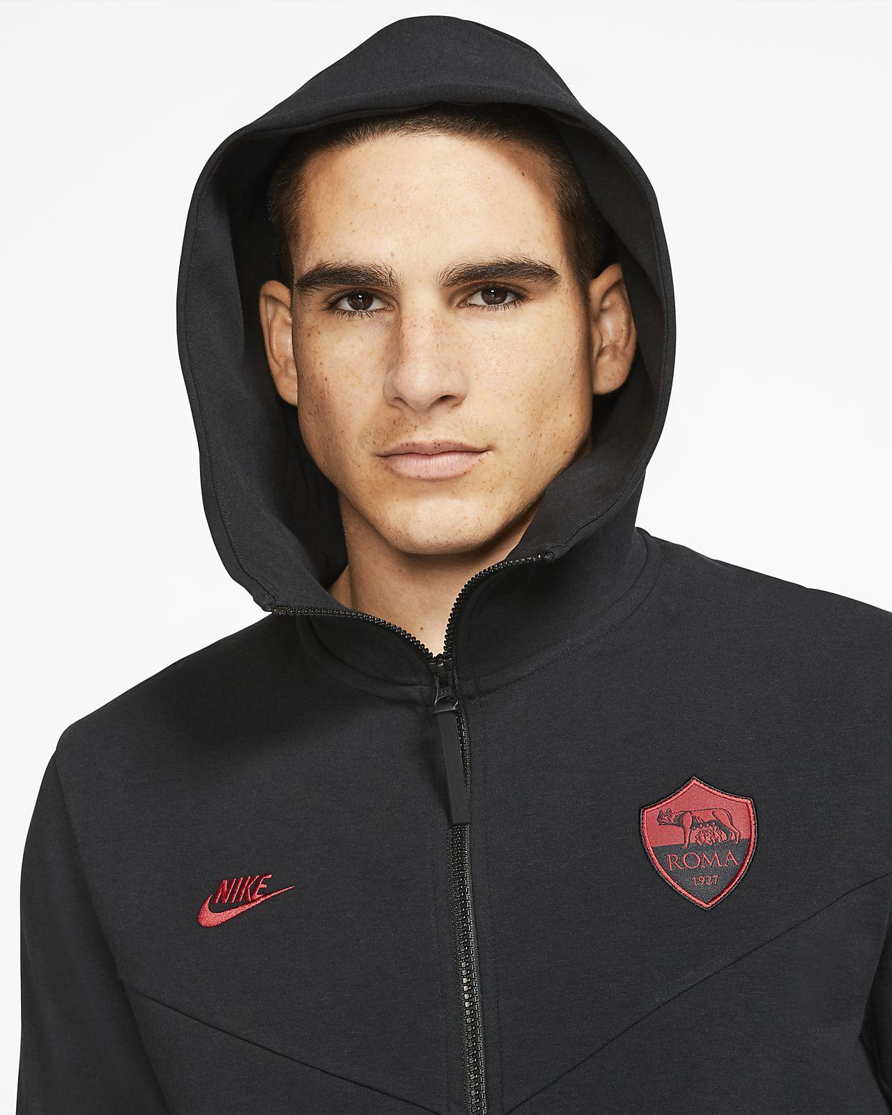 A.S. Rom Tech Pack Fußball Hoodie mit durchgehendem Reißverschluss für Herren