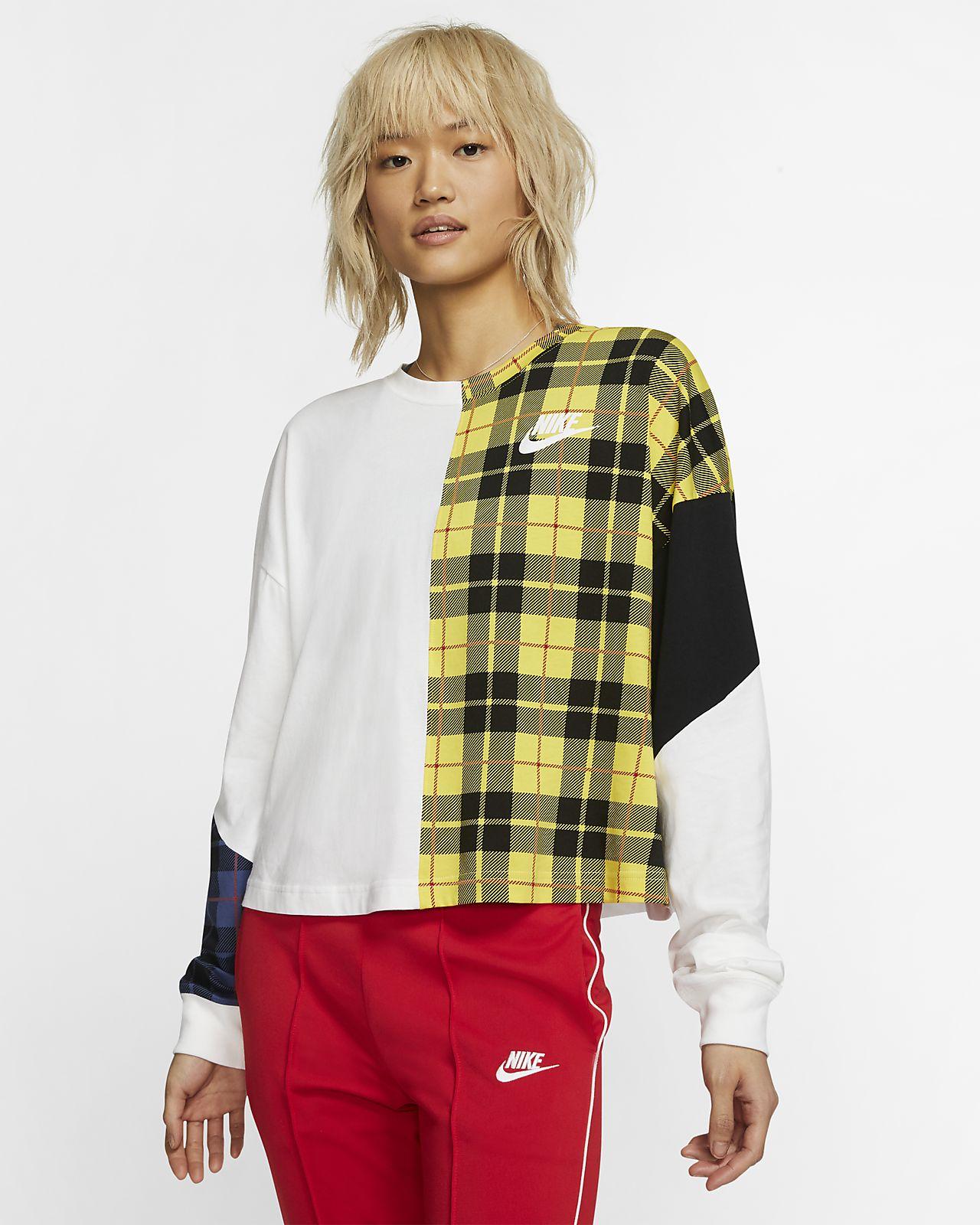 6984e67e6 Nike Sportswear NSW Camiseta de malla de manga larga con estampado de  cuadros - Mujer