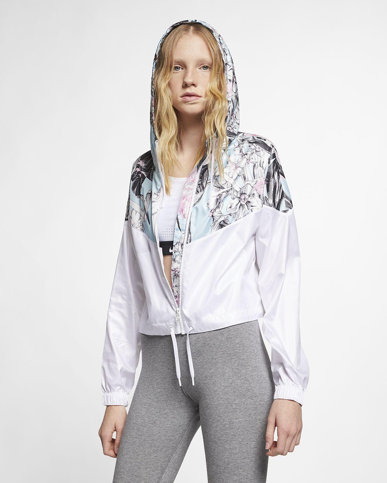 Giacca floreale ridotta Nike Sportswear Windrunner - Donna