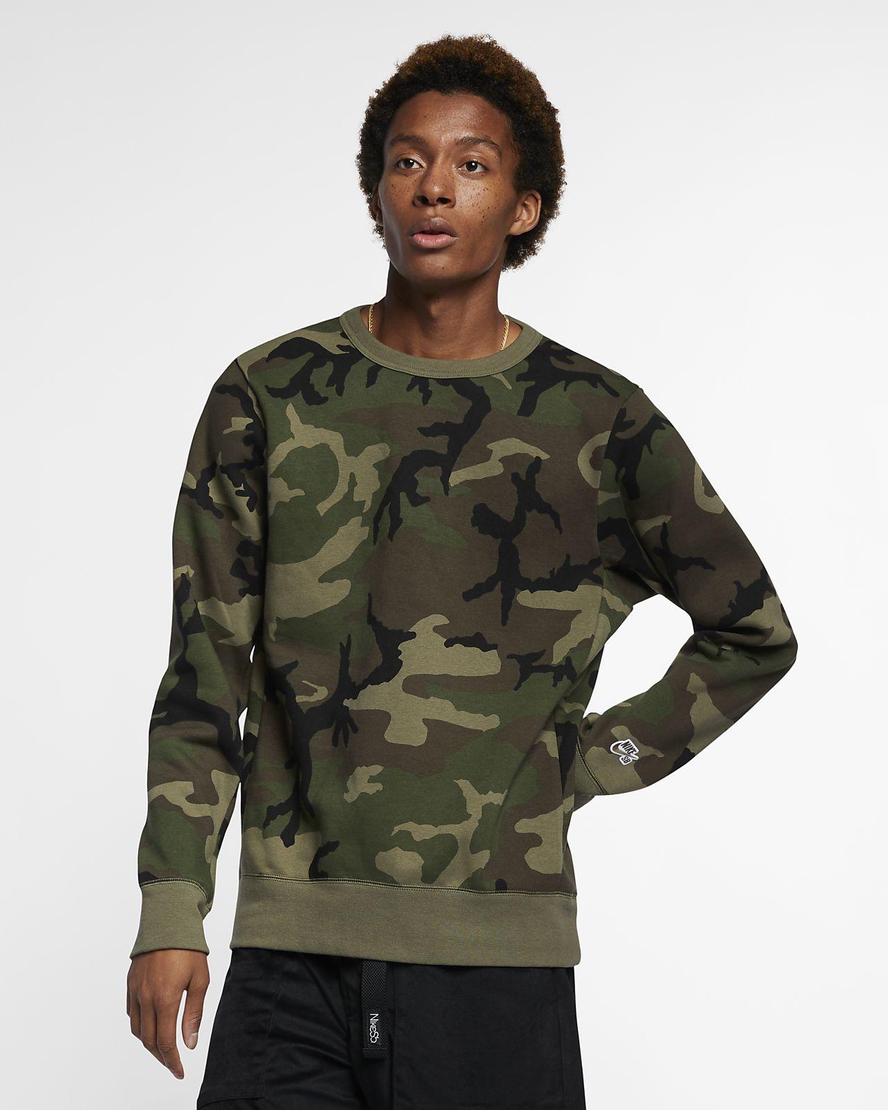 Camisola de skateboard com padrão camuflado Nike SB Icon para homem