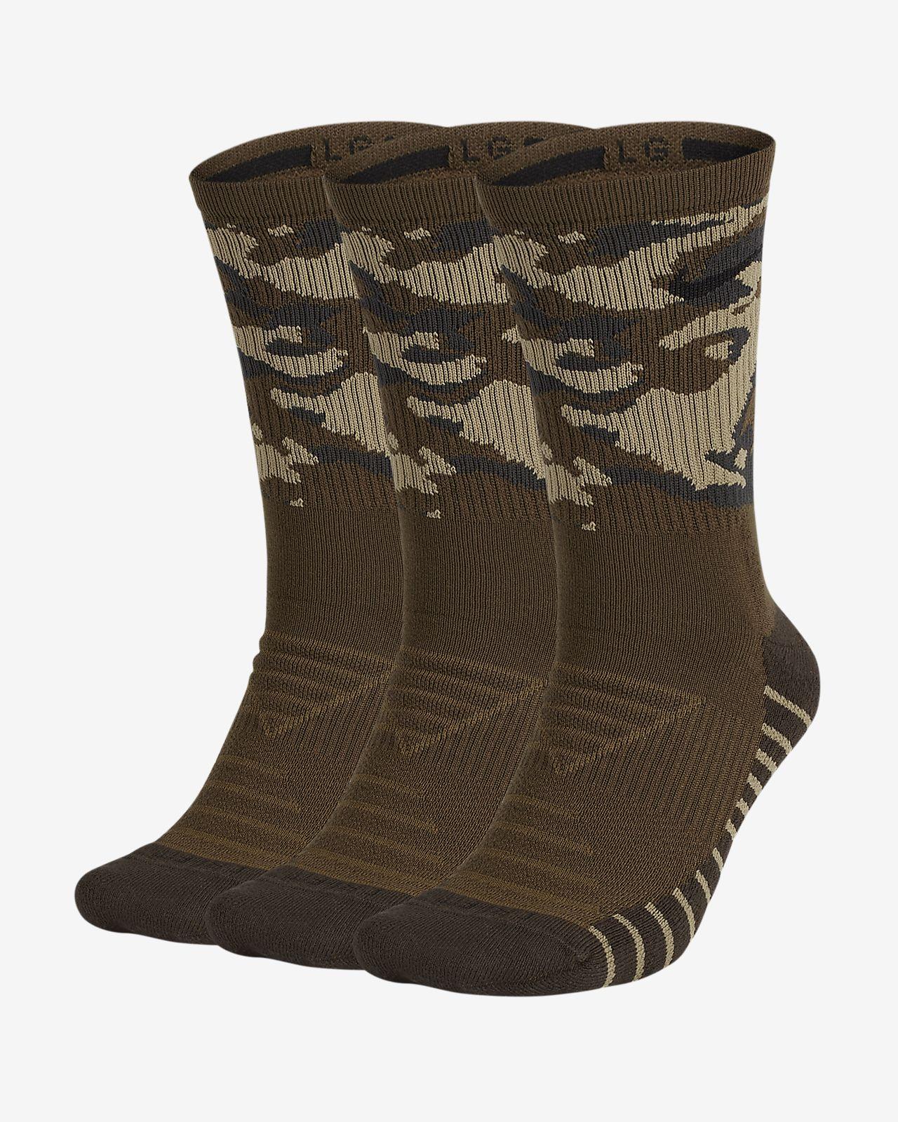 Nike Everyday Max Cushion Calcetines largos de entrenamiento de camuflaje (3 pares)