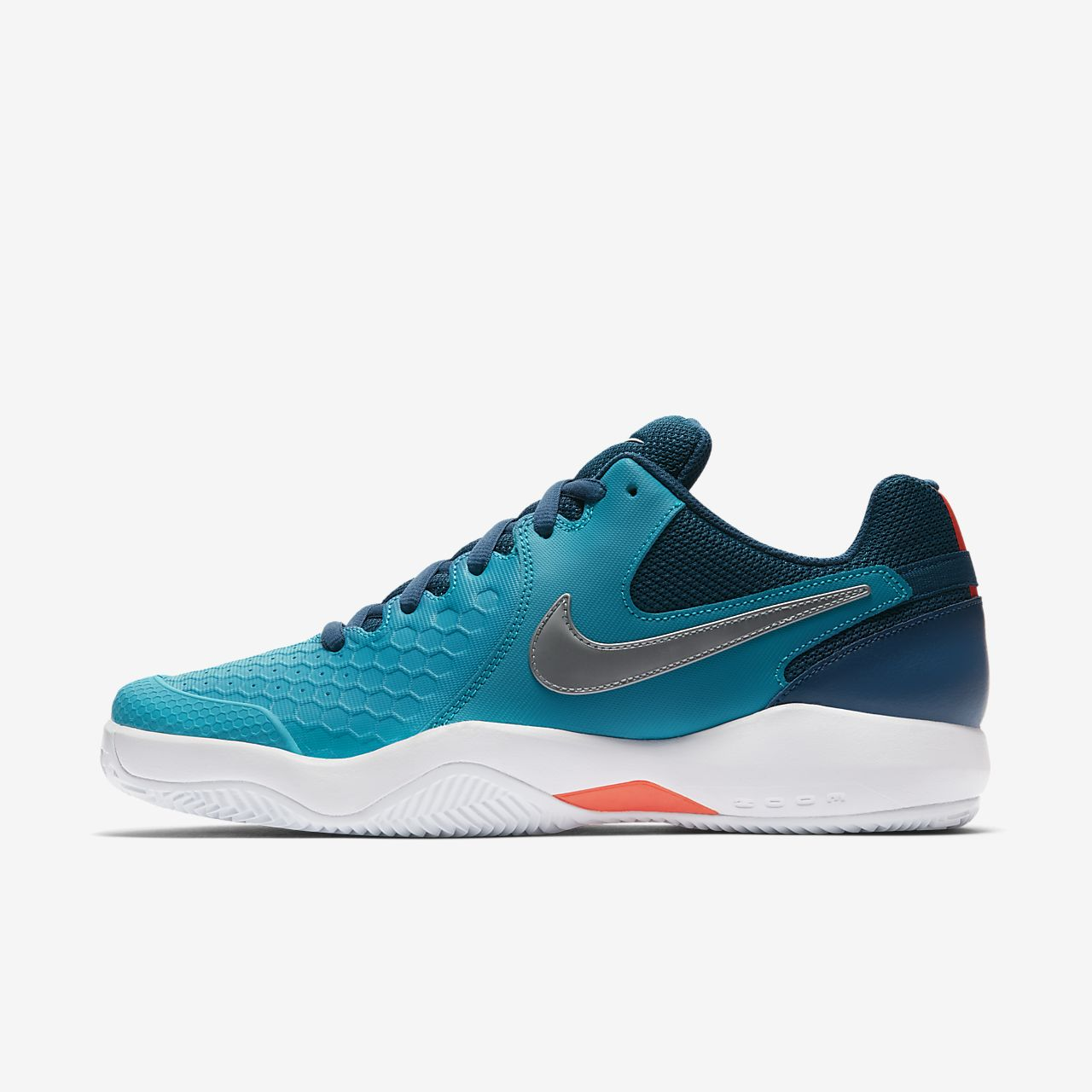 Nike Performance AIR ZOOM RESISTANCE CLY - Outdoor tennis shoes - white/orange peel/blackened blue/phantom DoS21czHG