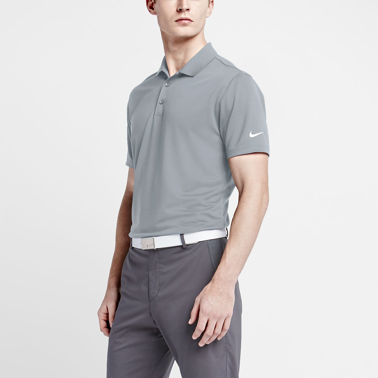 Nike Victory Solid Men's Standard Fit Golf Polo Shirts Wolf Grey/White