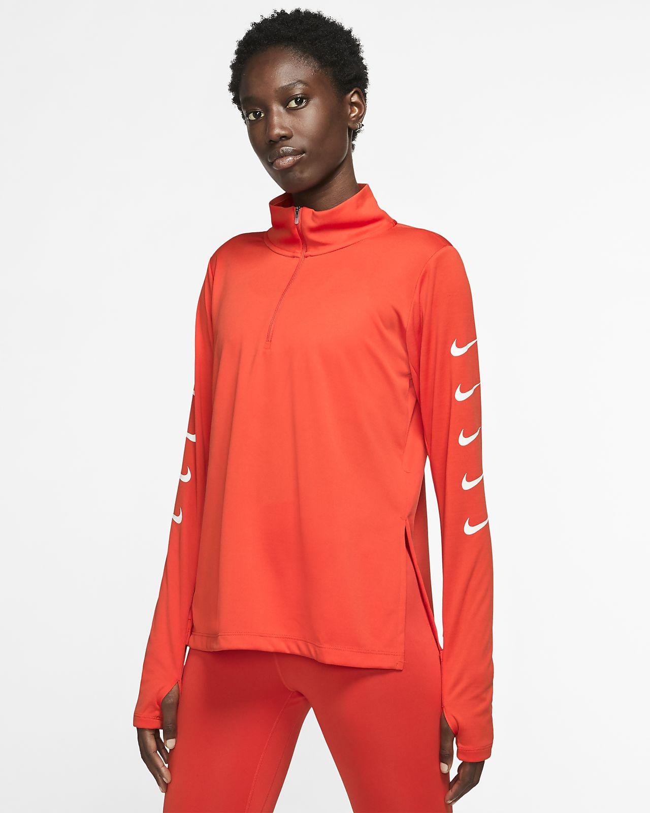 Nike Swoosh Damen-Laufoberteil mit Halbreißverschluss