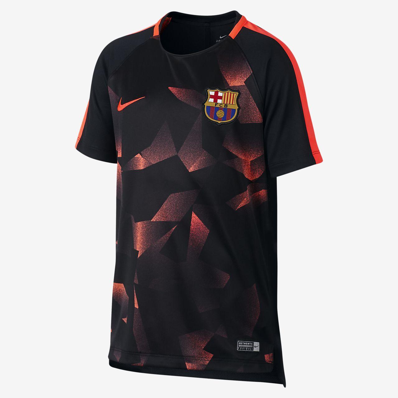 เสื้อฟุตบอลแขนสั้นเด็กโต FC Barcelona Dri-FIT Squad
