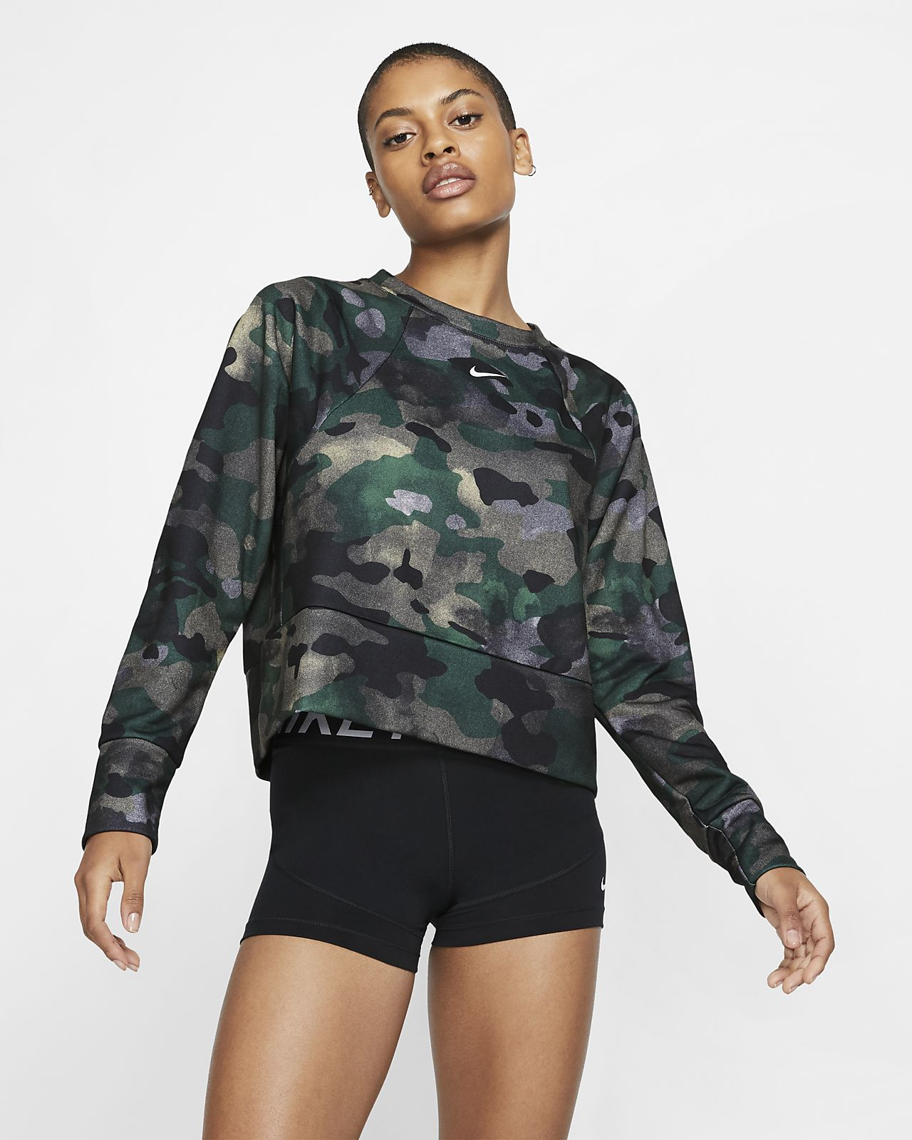 Haut de training camouflage en Fleece Nike Dri-FIT pour Femme